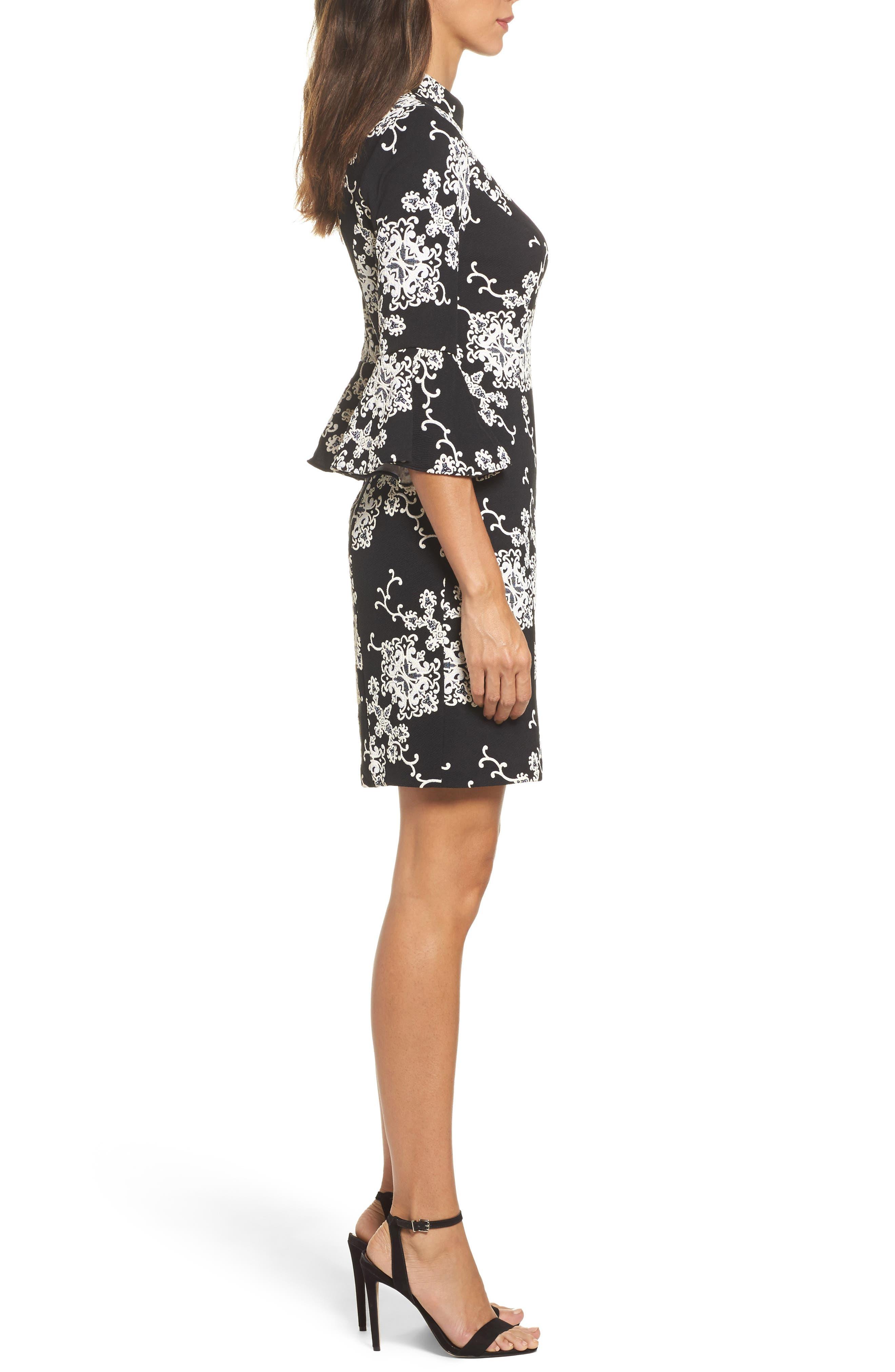 Flare Sleeve Sheath Dress,                             Alternate thumbnail 3, color,                             016