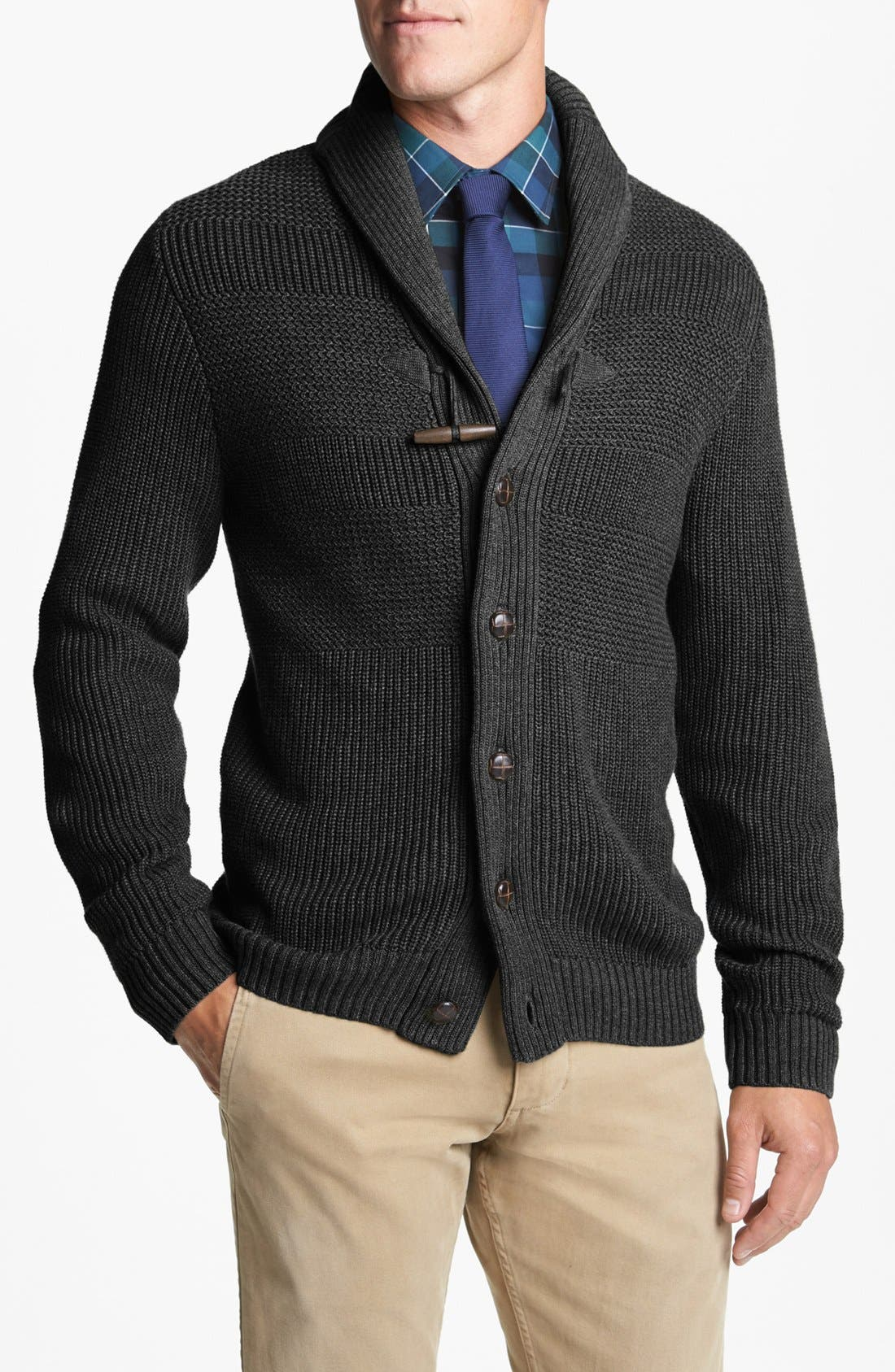 Textured Knit Shawl Cardigan, Main, color, 020