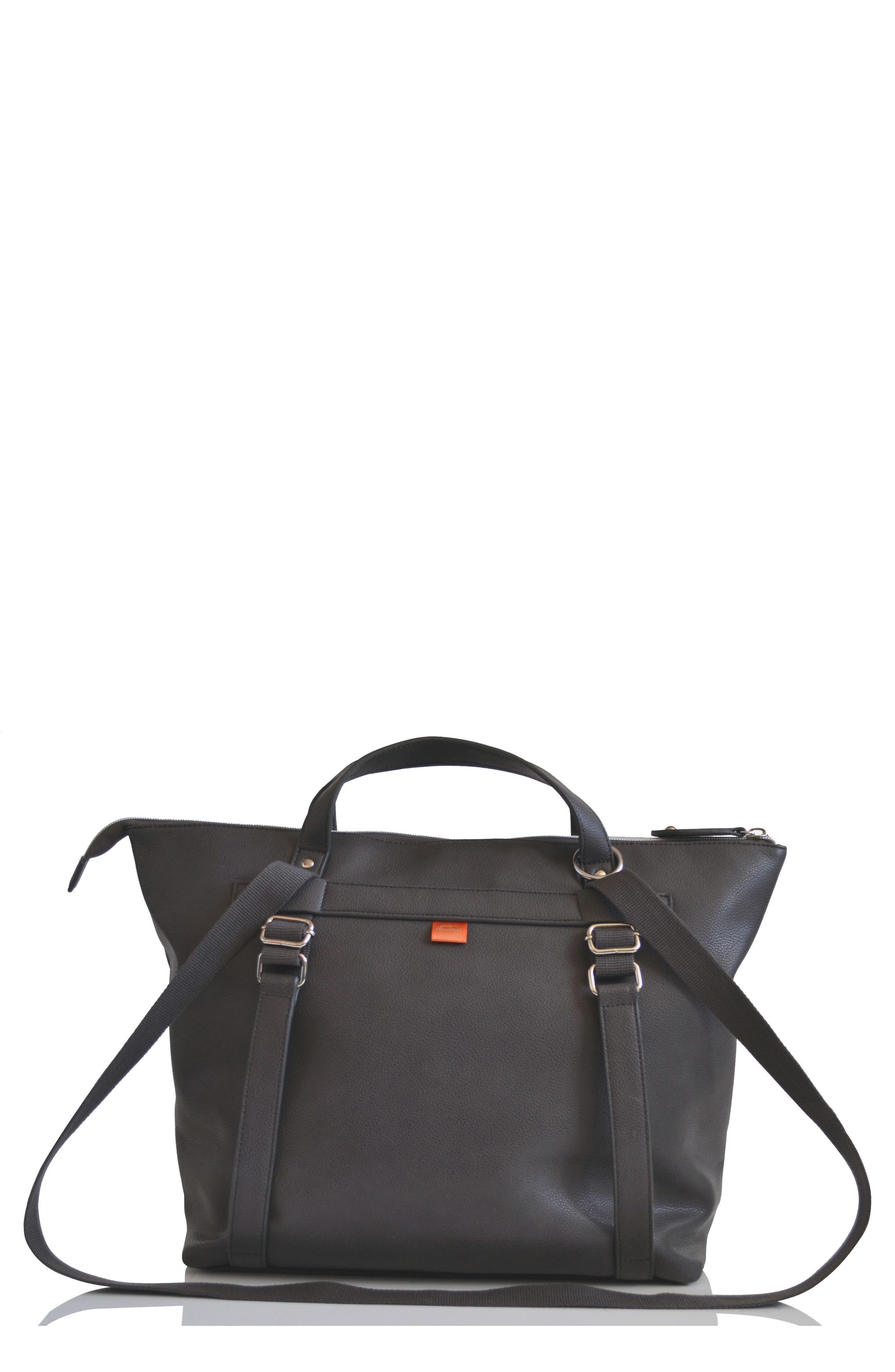 Infant Pacapod Saunton Faux Leather Convertible Diaper Backpack  Grey