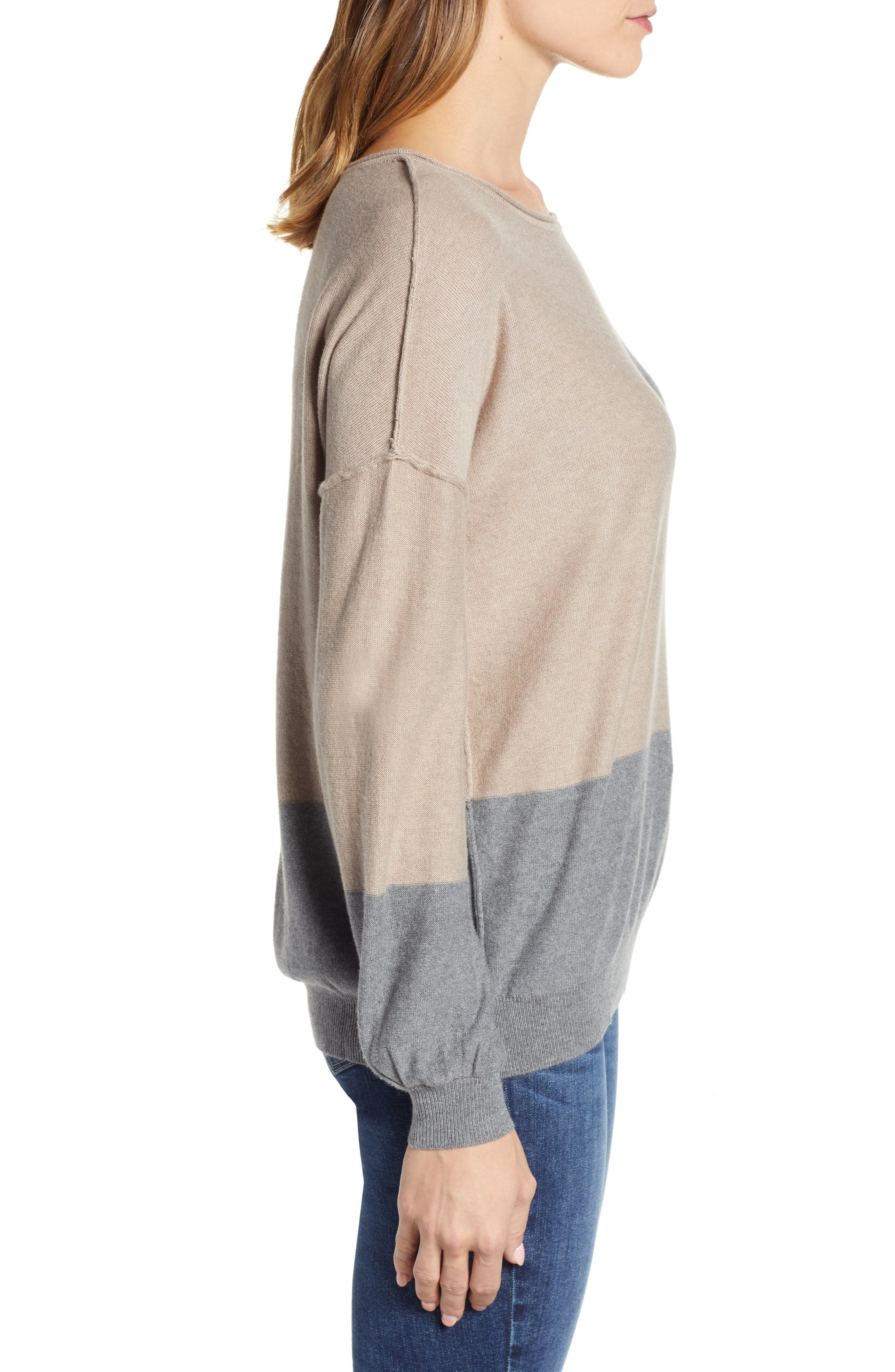 Colorblock Sweater,                             Alternate thumbnail 3, color,                             TAUPE/ HEATHER GREY