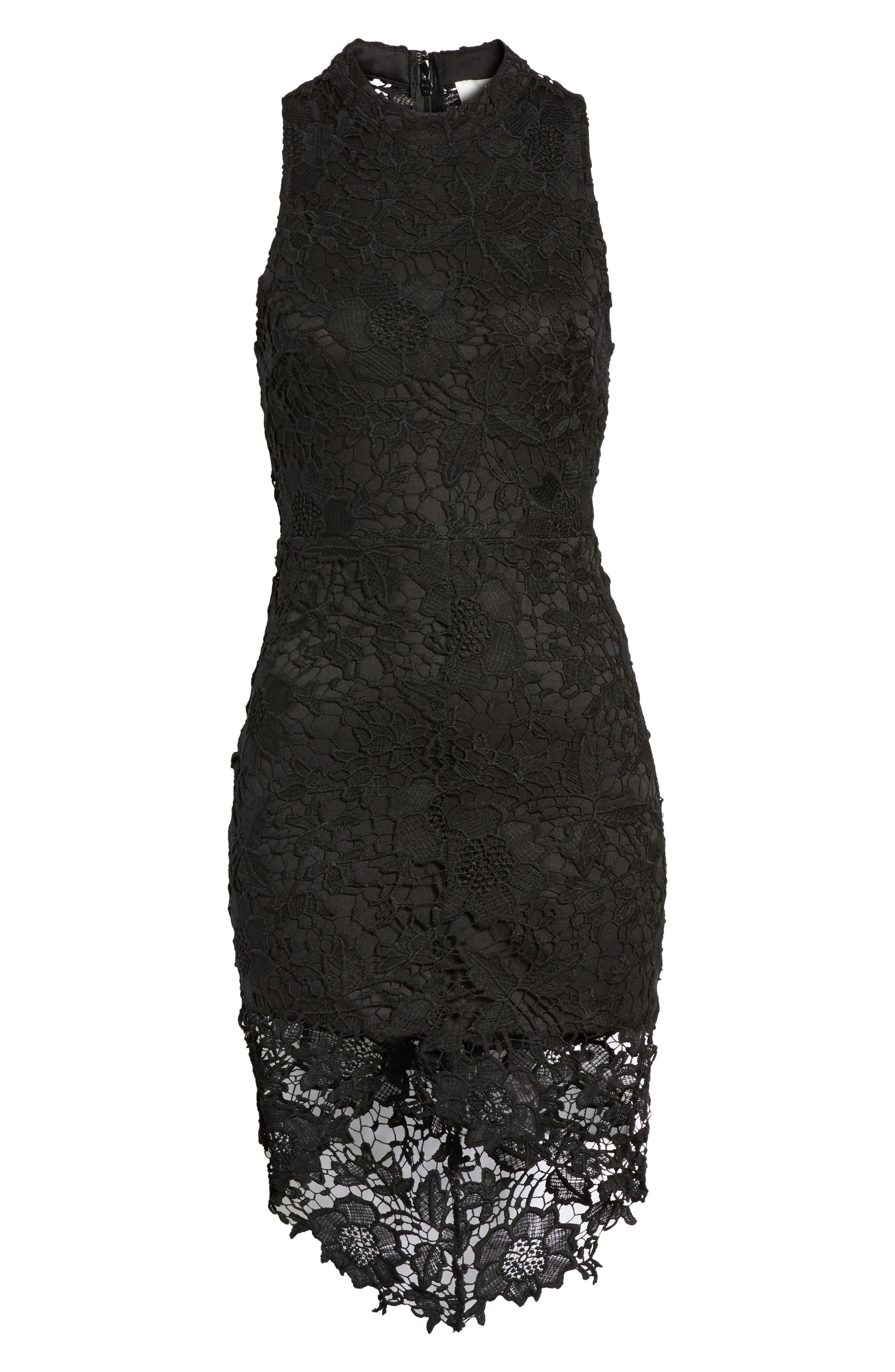 'Samantha' Lace Dress,                             Alternate thumbnail 6, color,                             001