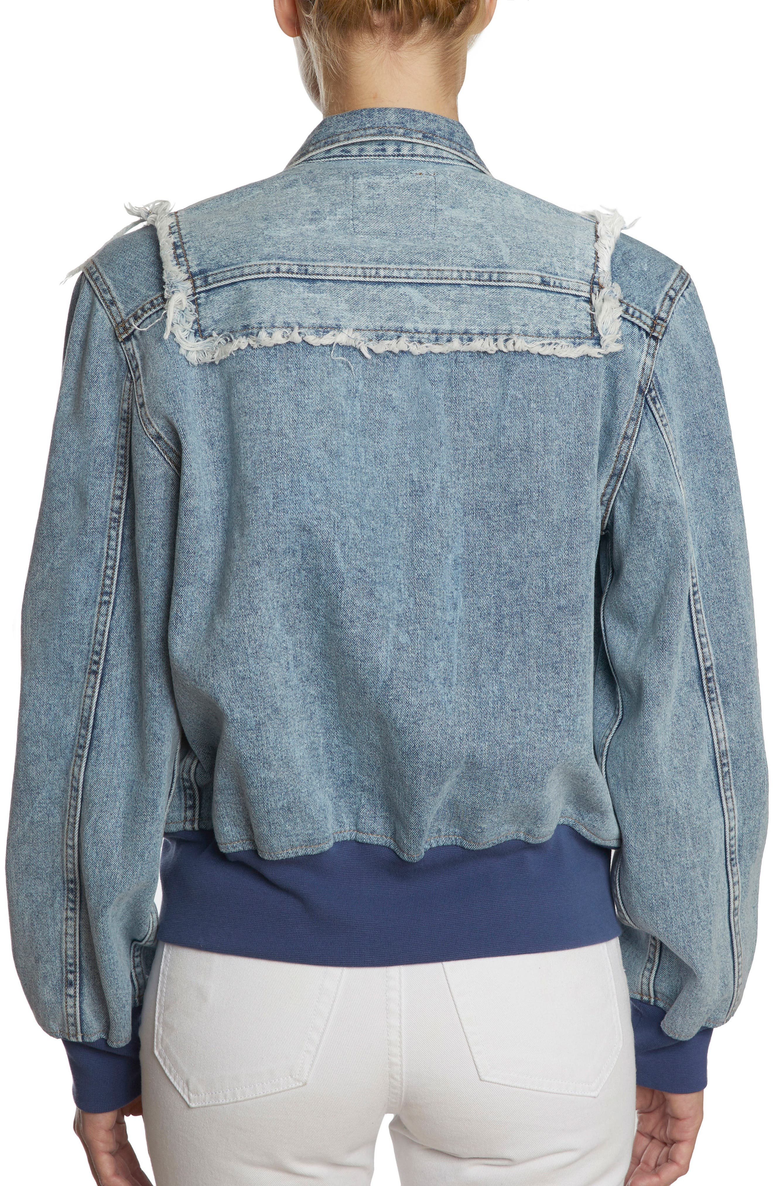 Denim Bomber Jacket,                             Alternate thumbnail 2, color,                             INDIGO
