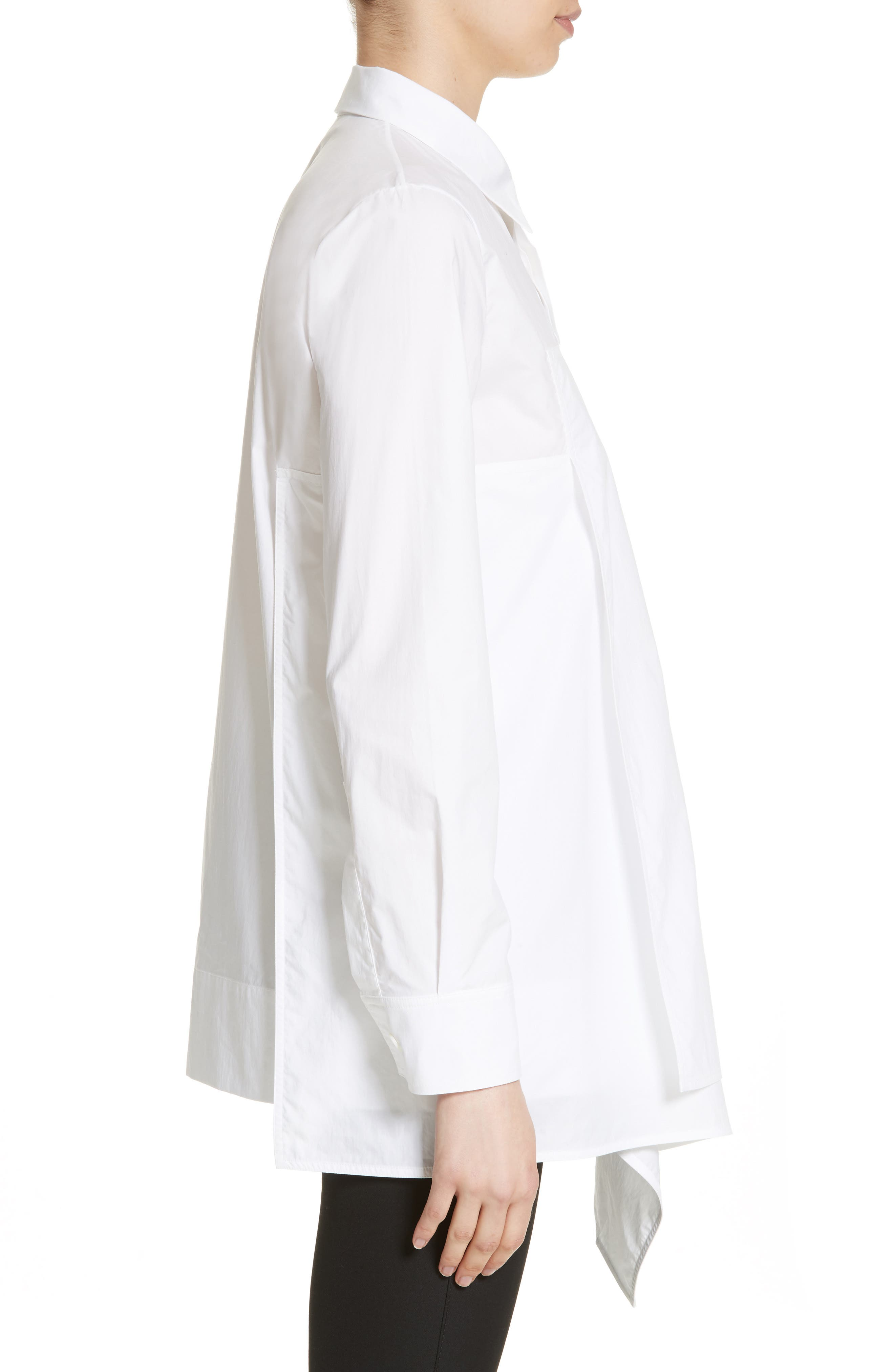 Draped Cotton Poplin Shirt,                             Alternate thumbnail 3, color,                             100