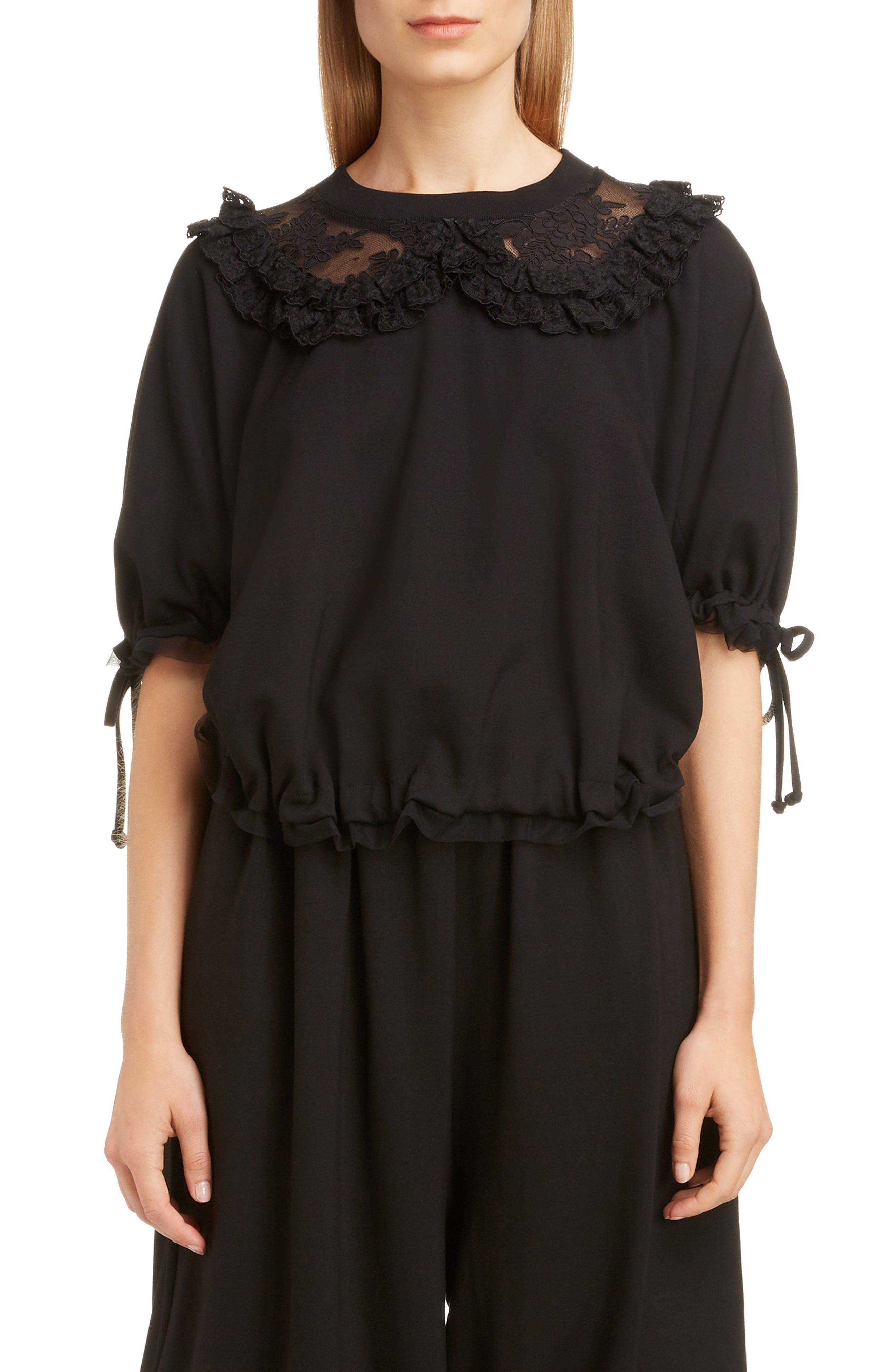 Frilly Lace Ruched Top,                             Main thumbnail 1, color,                             BLACK