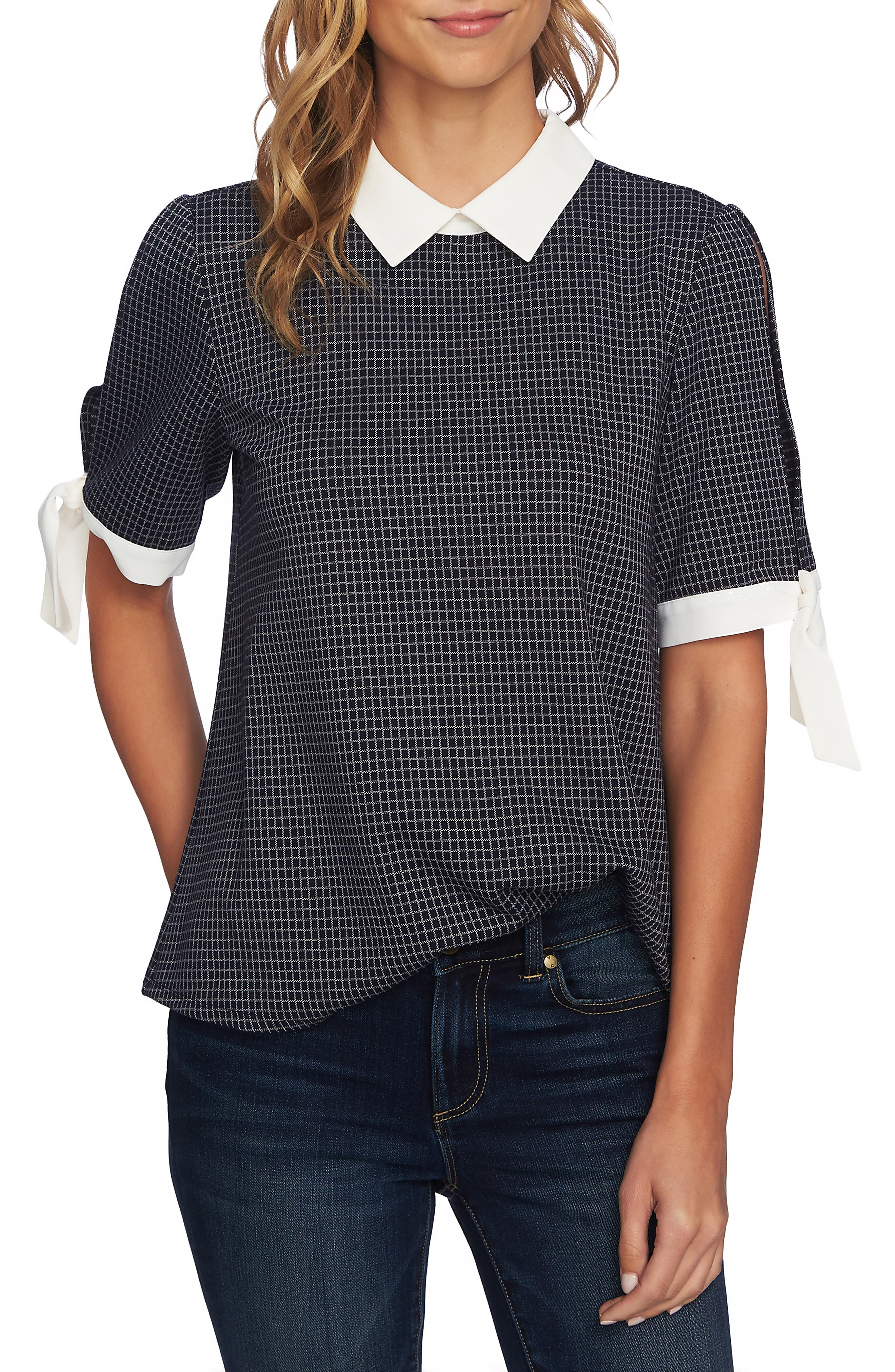 Windowpane Tie Sleeve Collared Blouse,                             Main thumbnail 1, color,                             CAVIAR