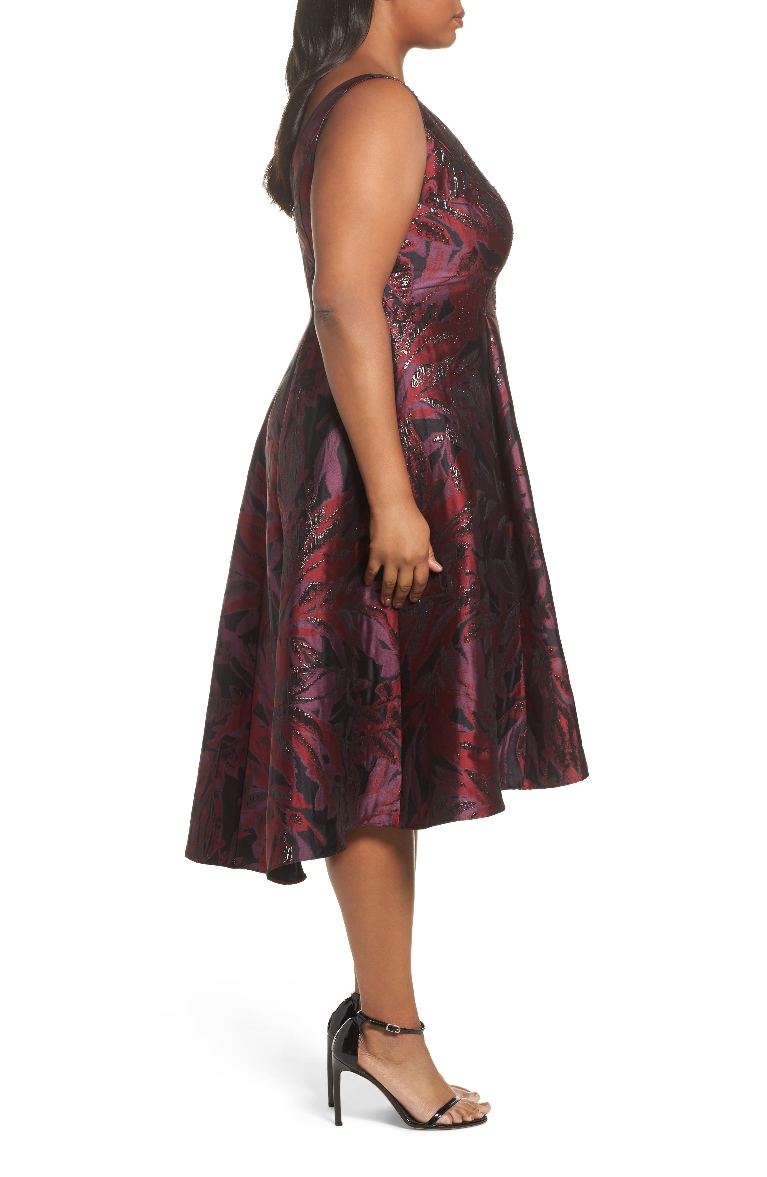 Metallic Floral Jacquard Fit & Flare Dress,                             Alternate thumbnail 3, color,                             641