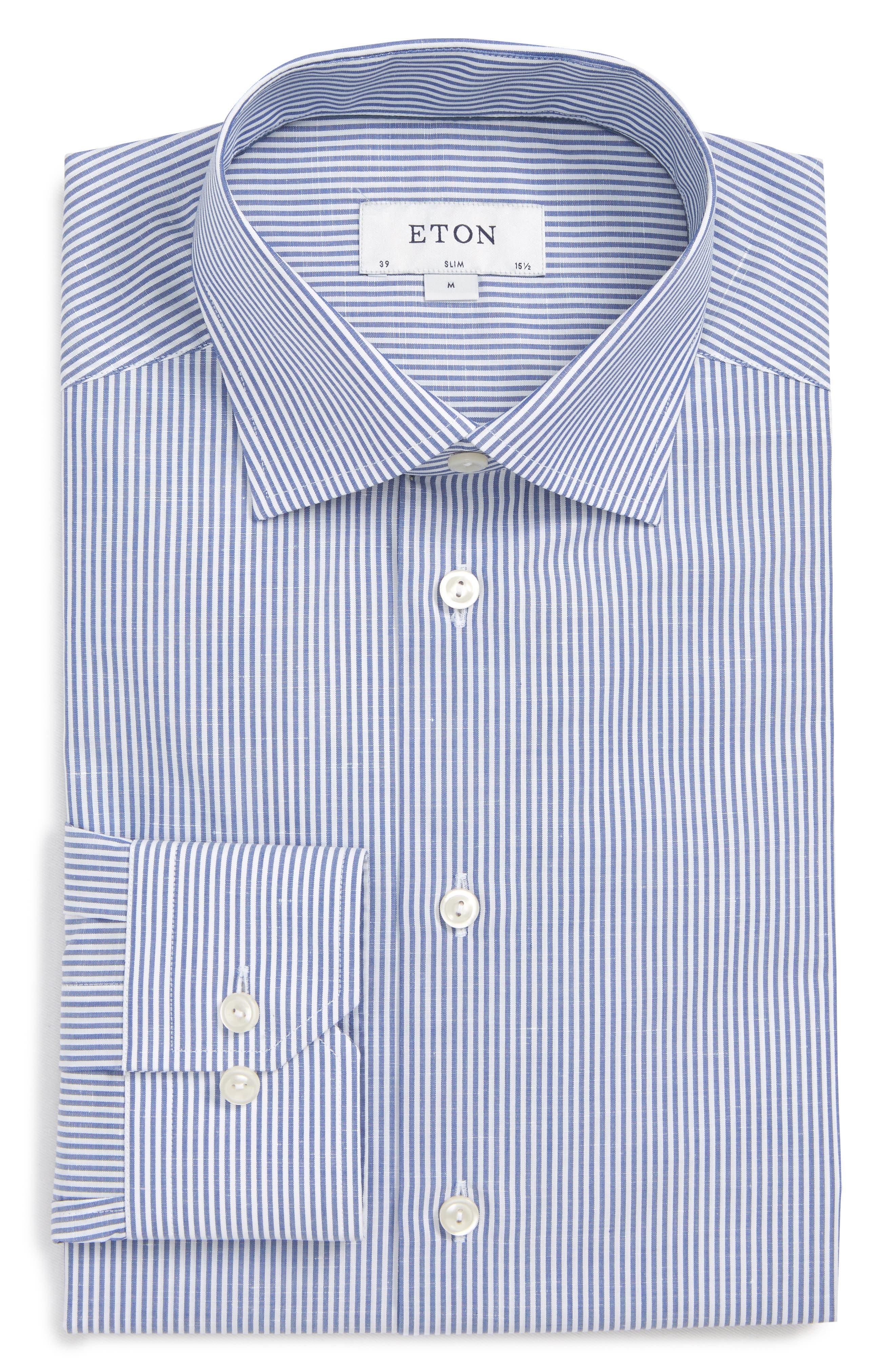 Slim Fit Stripe Dress Shirt,                             Alternate thumbnail 5, color,