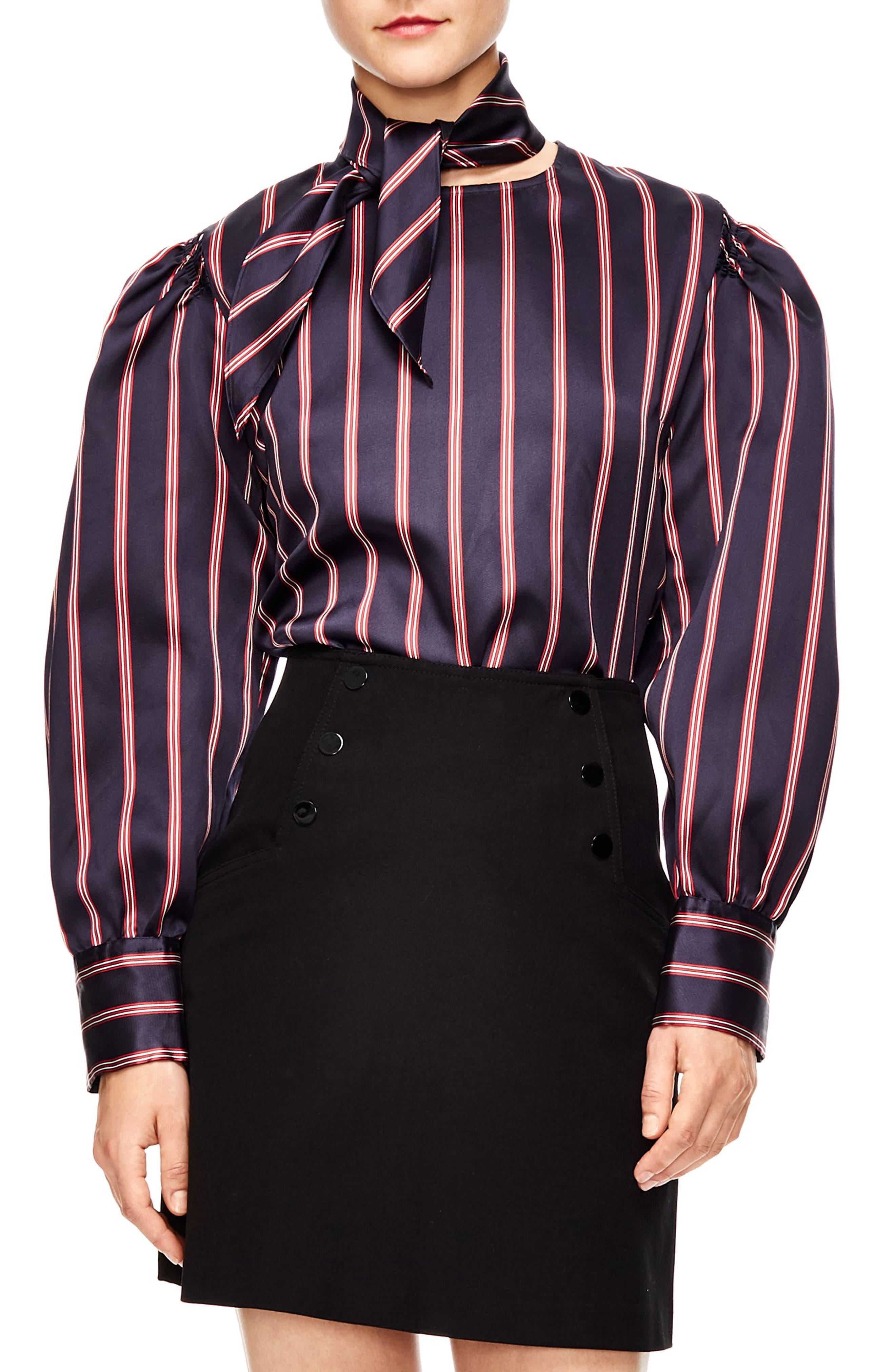Stripe Blouse,                         Main,                         color, DEEP NAVY