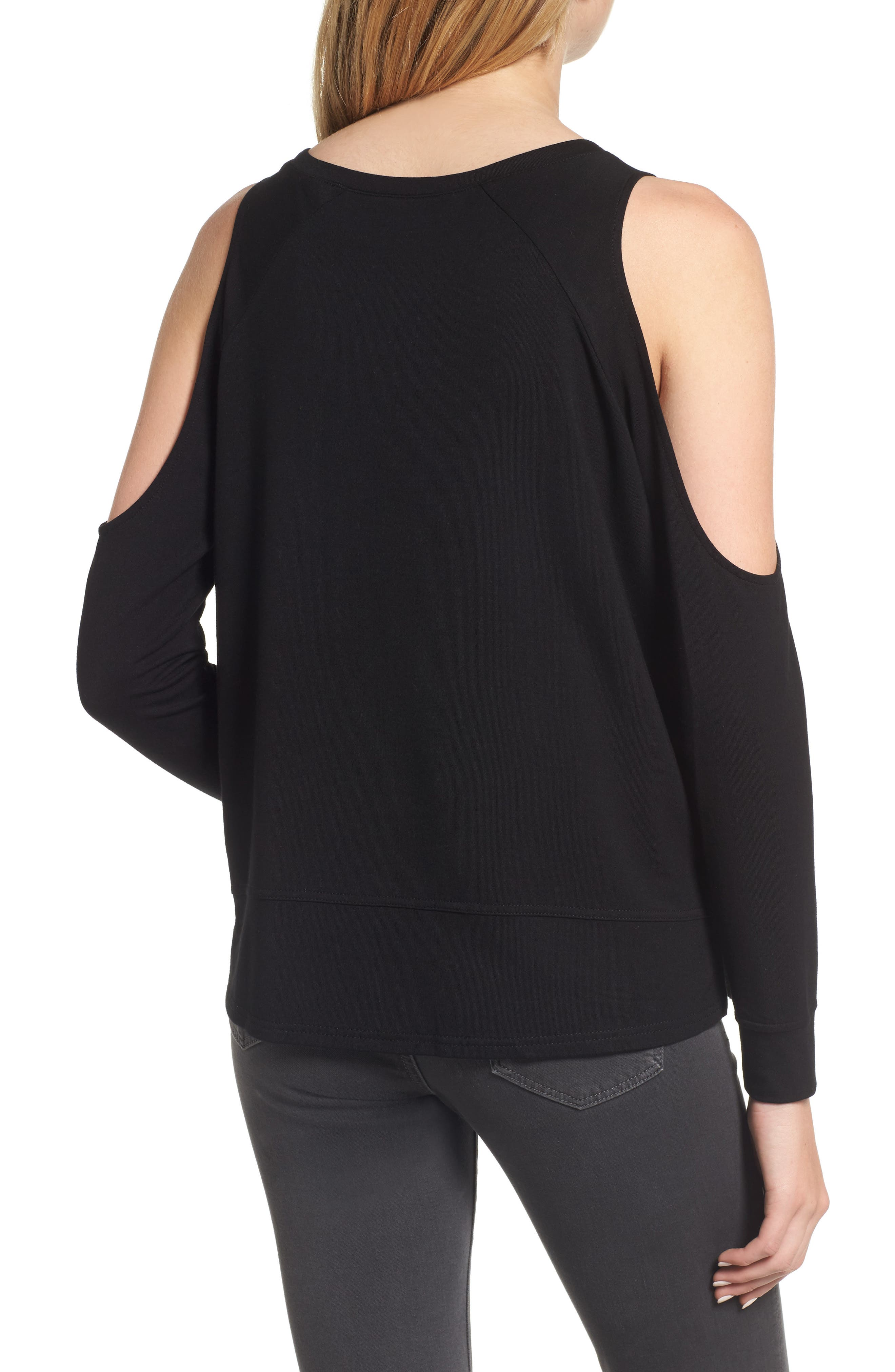 Mariam Cold Shoulder Tee,                             Alternate thumbnail 2, color,                             001