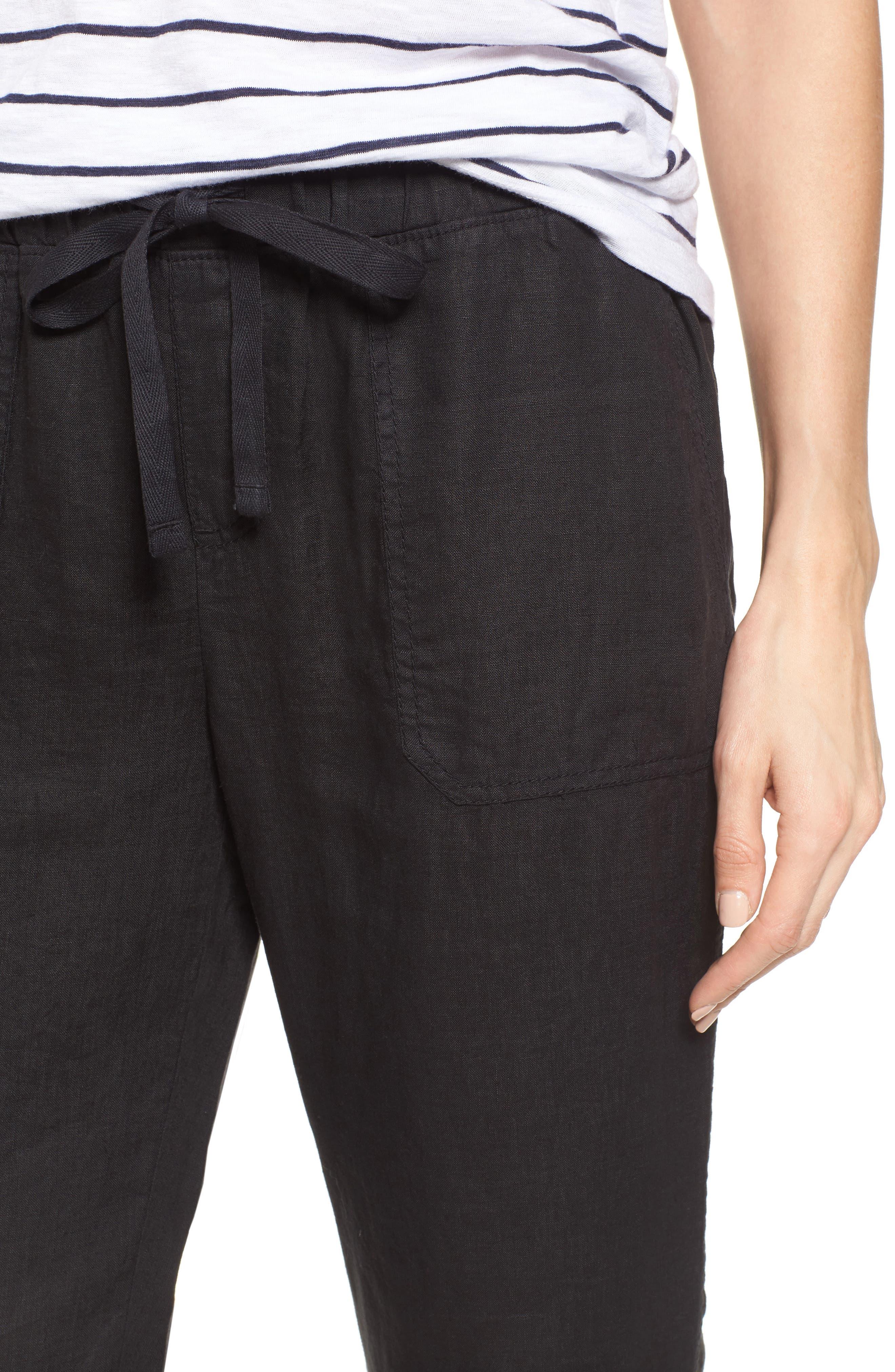 Linen Jogger Pants,                             Alternate thumbnail 4, color,                             BLACK
