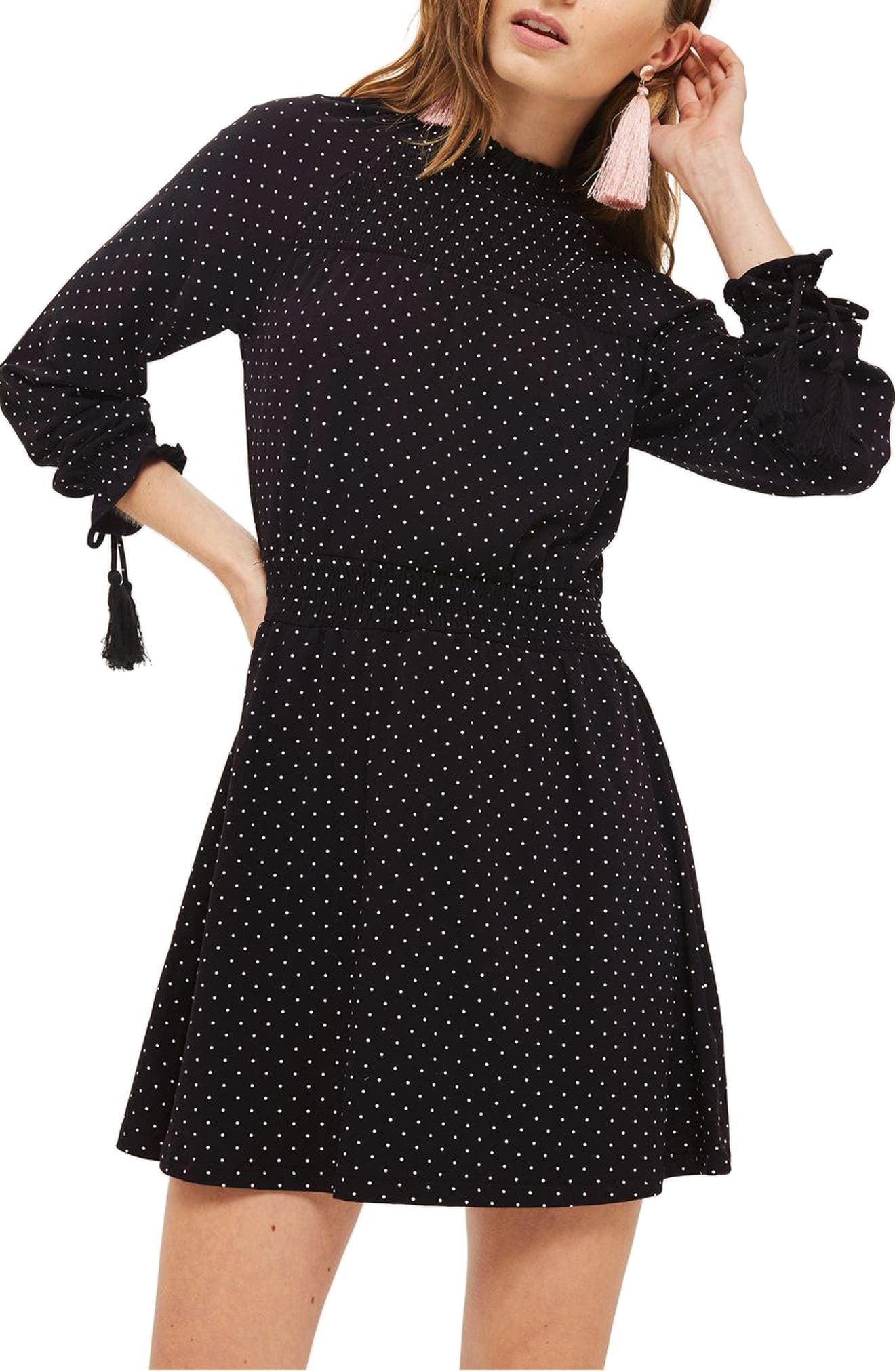 Polka Dot Shirred Waist Dress,                             Alternate thumbnail 3, color,                             001