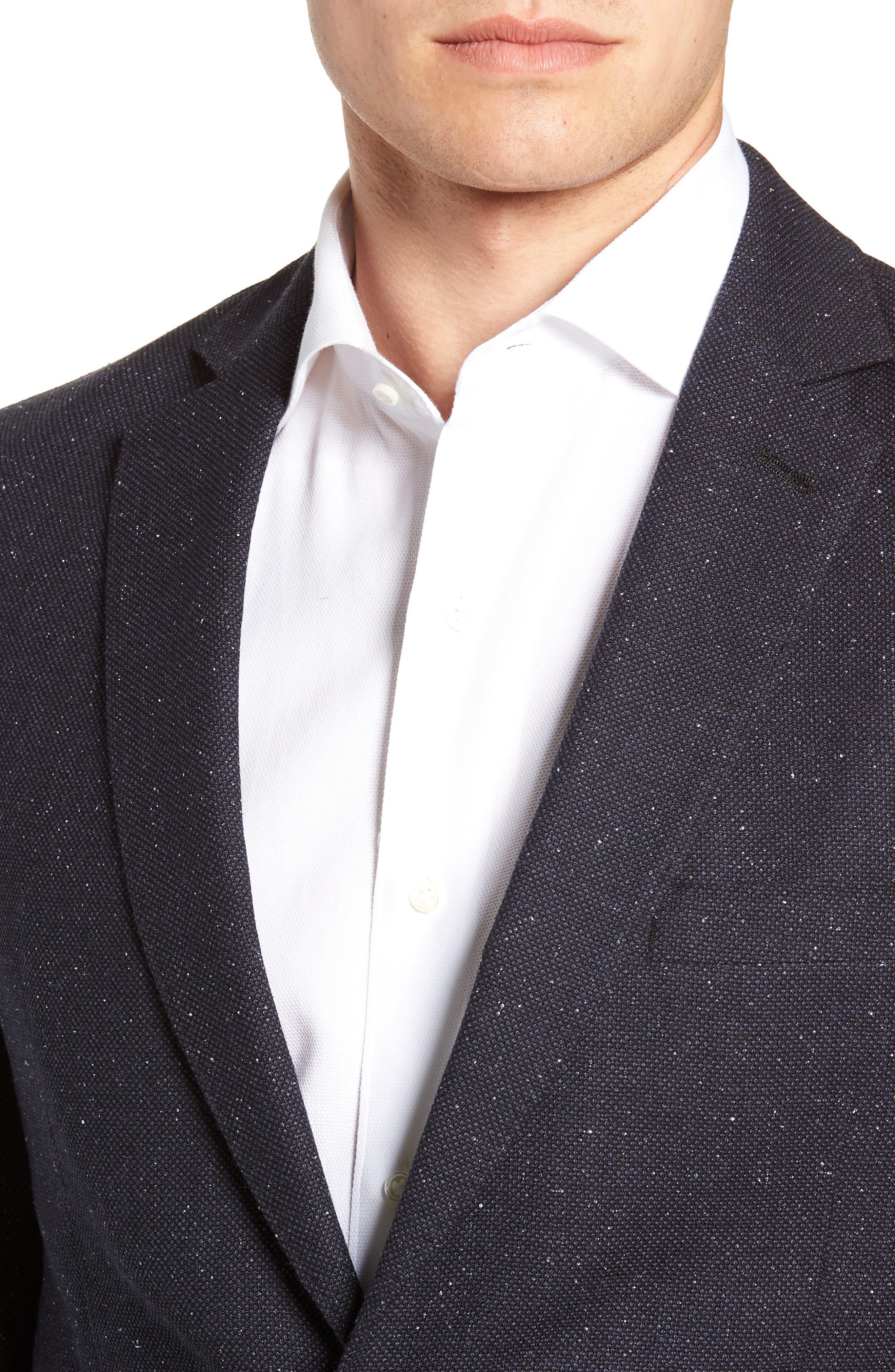 Regular Fit Wool & Silk Blazer,                             Alternate thumbnail 4, color,                             BLUE