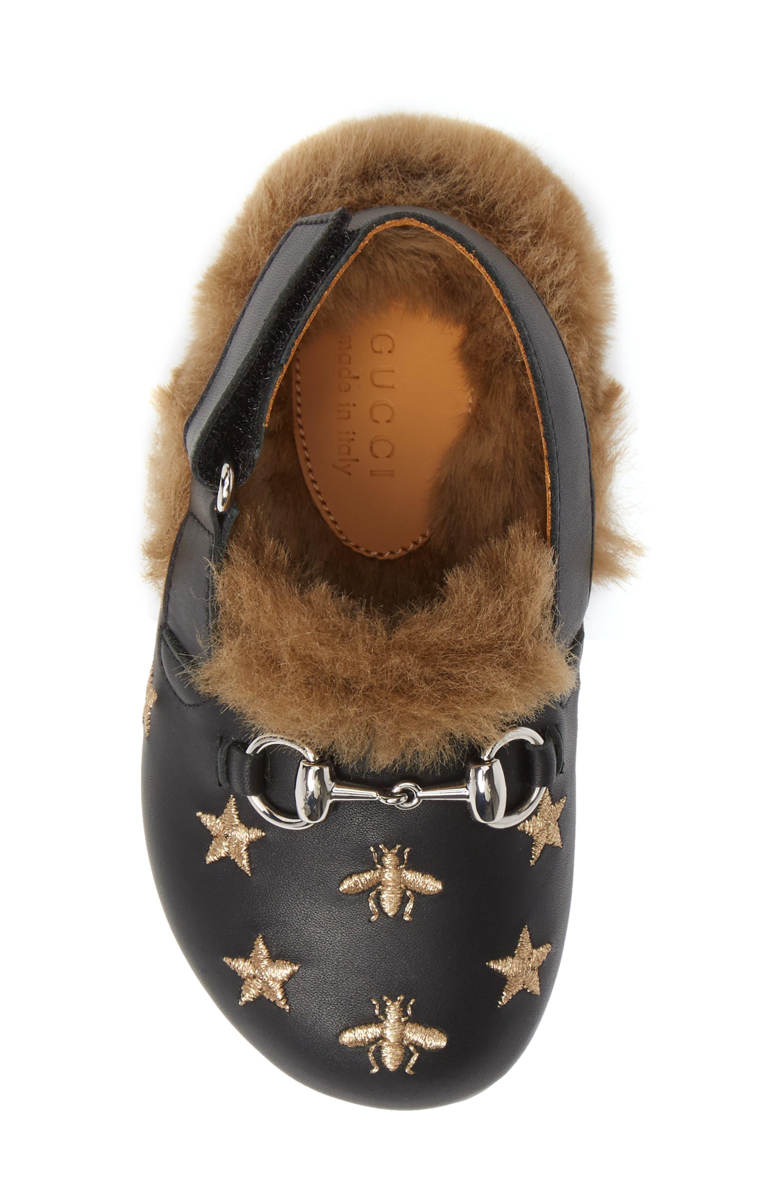 Horsebit Embroidered Sandal,                             Alternate thumbnail 5, color,                             BLACK/GOLD STARS