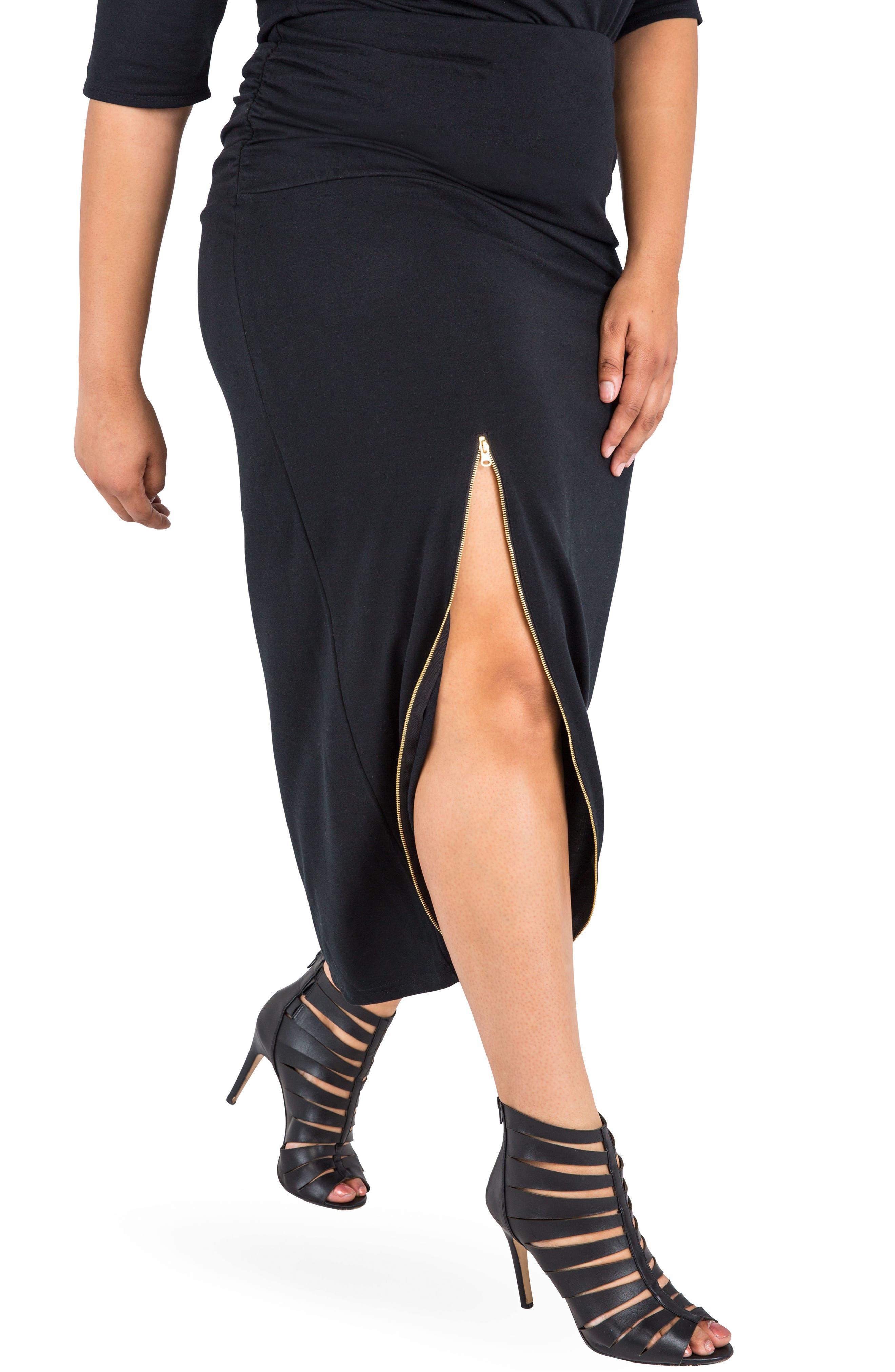 Plus Size Poetic Justice Kandi Zip Slit Maxi Skirt, Black