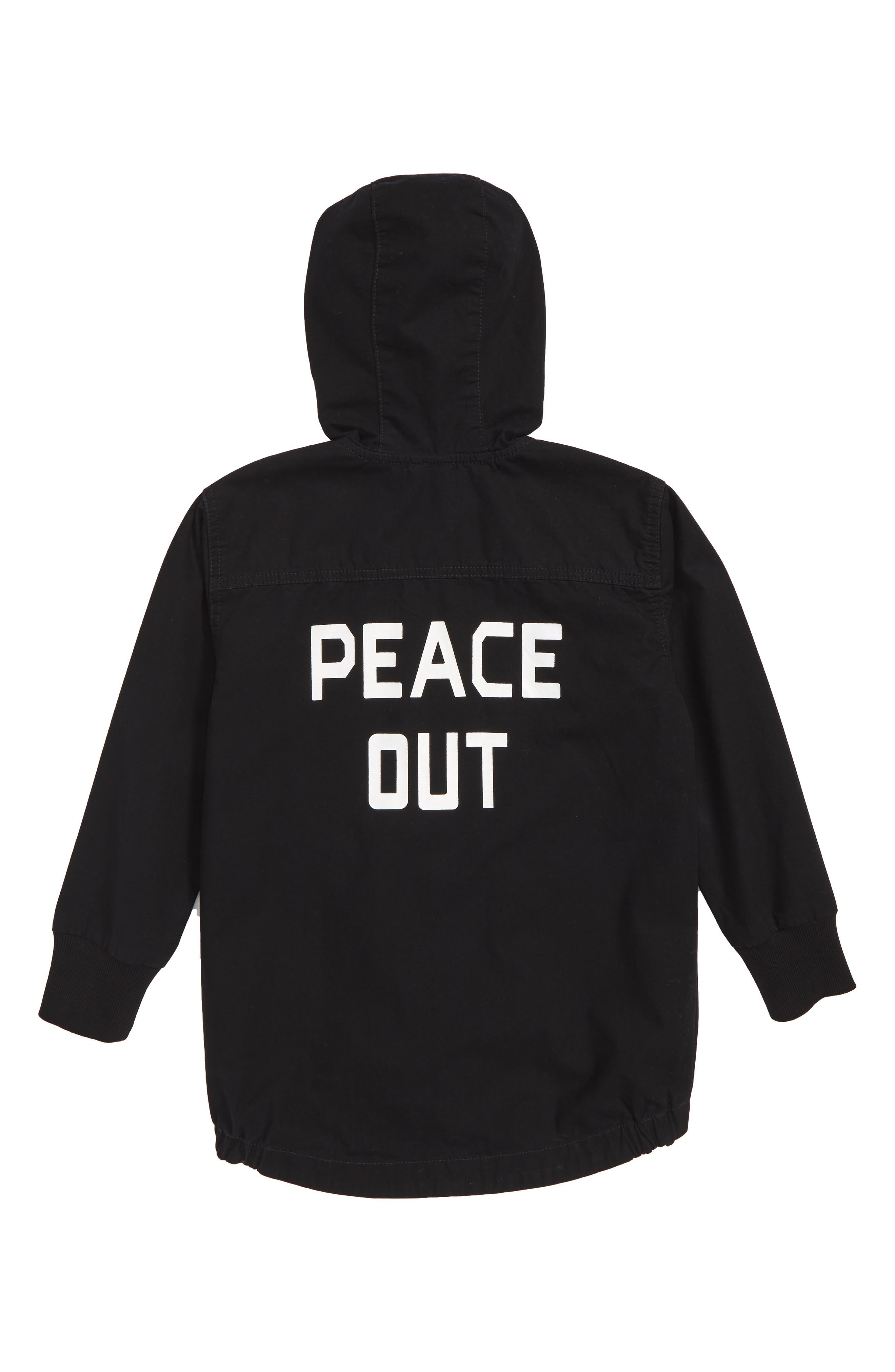 Peace Out Stretch Cotton Parka,                             Alternate thumbnail 2, color,                             BLACK