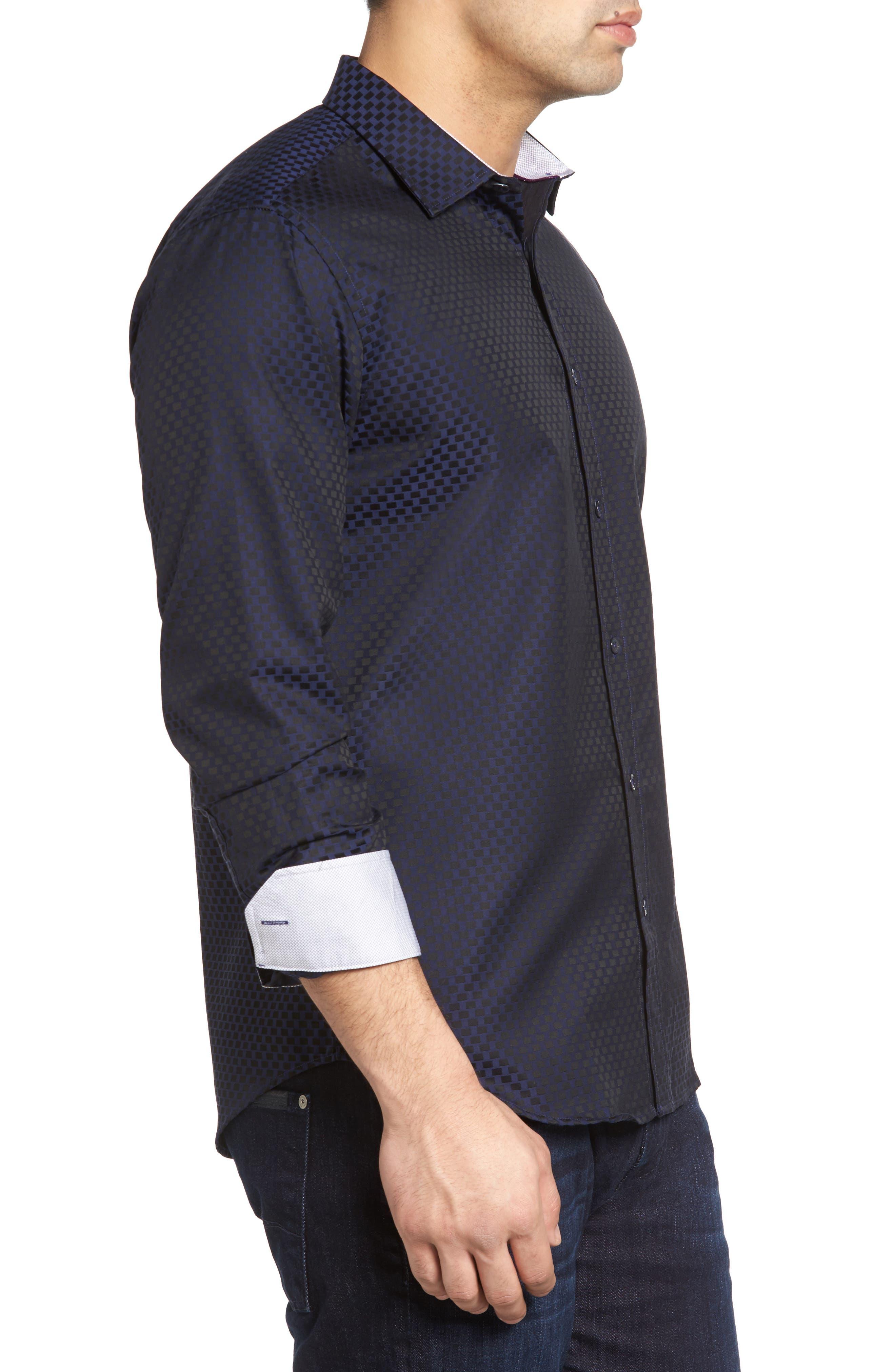 Shaped Fit Rectangle Jacquard Sport Shirt,                             Alternate thumbnail 9, color,