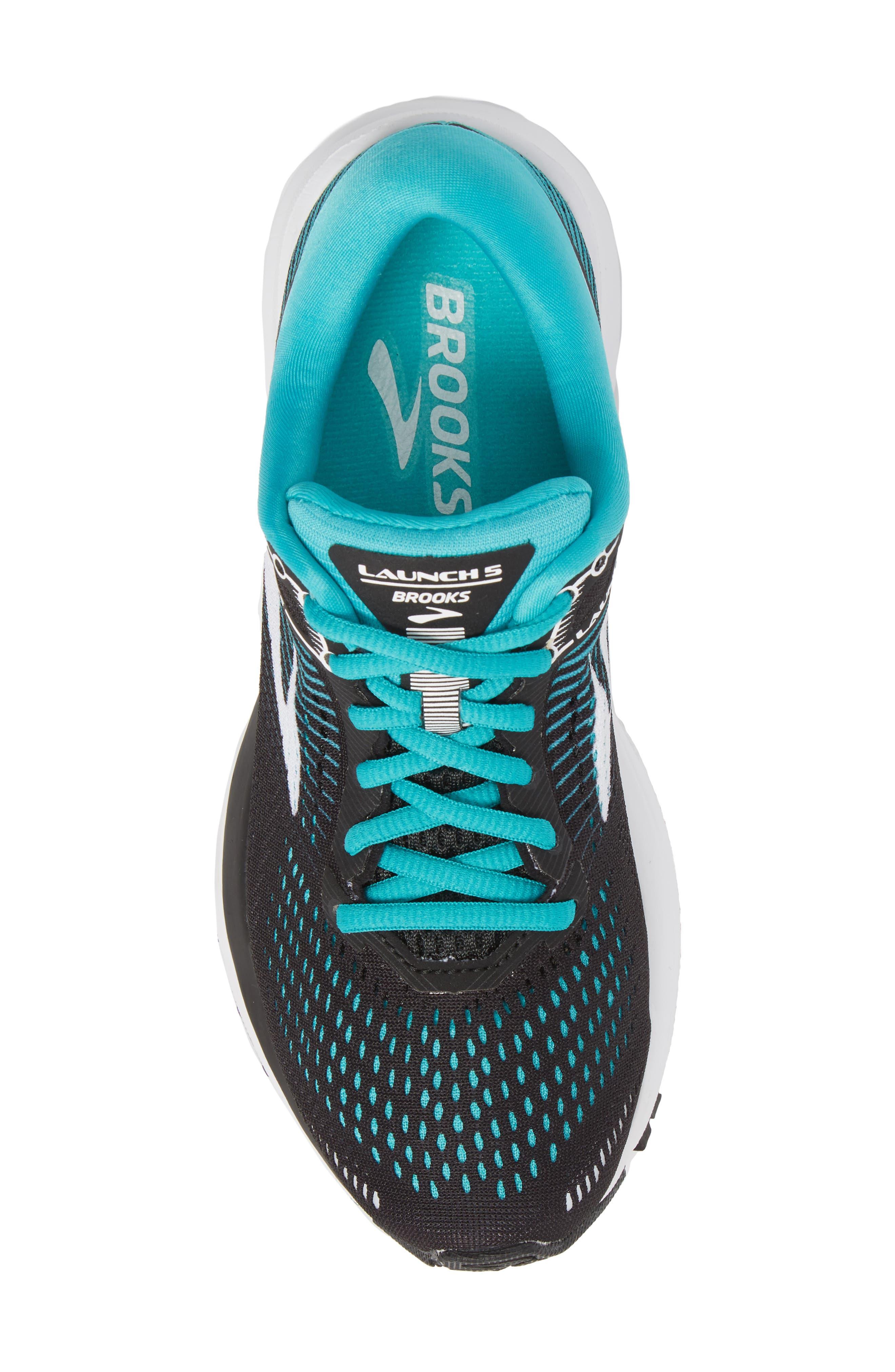 BROOKS,                             Launch 5 Running Shoe,                             Alternate thumbnail 5, color,                             BLACK/ TEAL GREEN/ WHITE