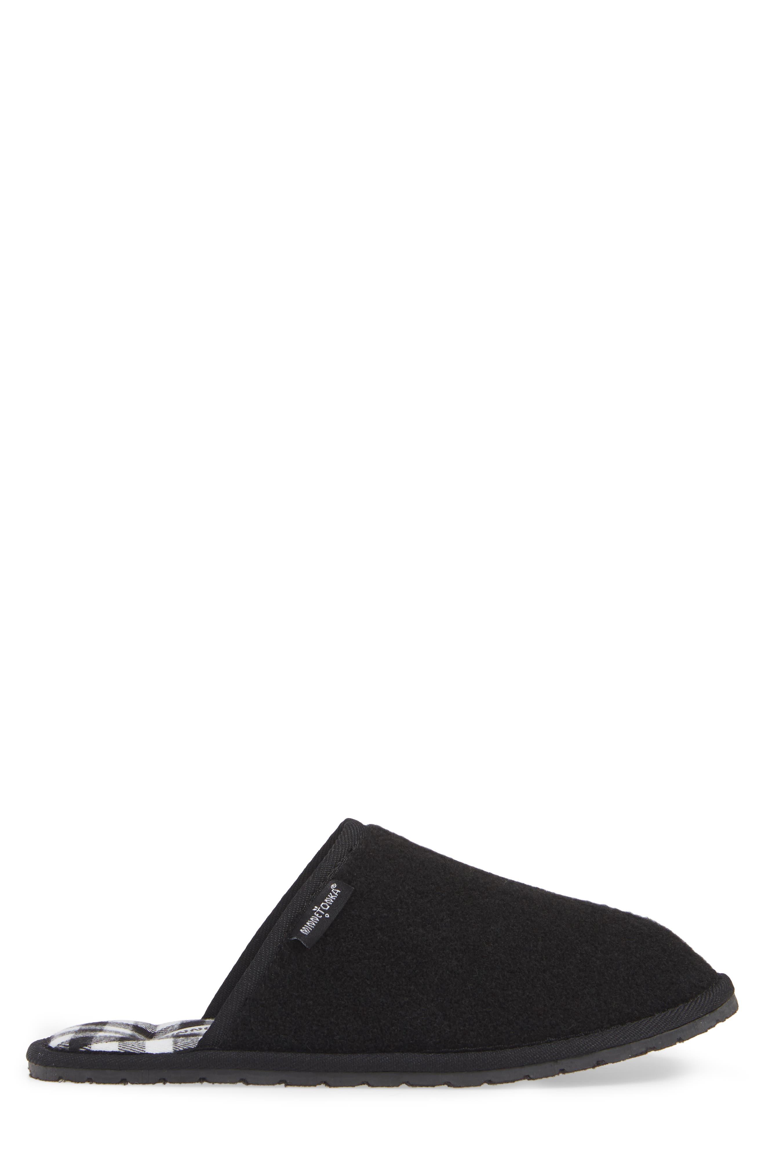 Franklin Scuff Slipper,                             Alternate thumbnail 3, color,                             BLACK PLAID