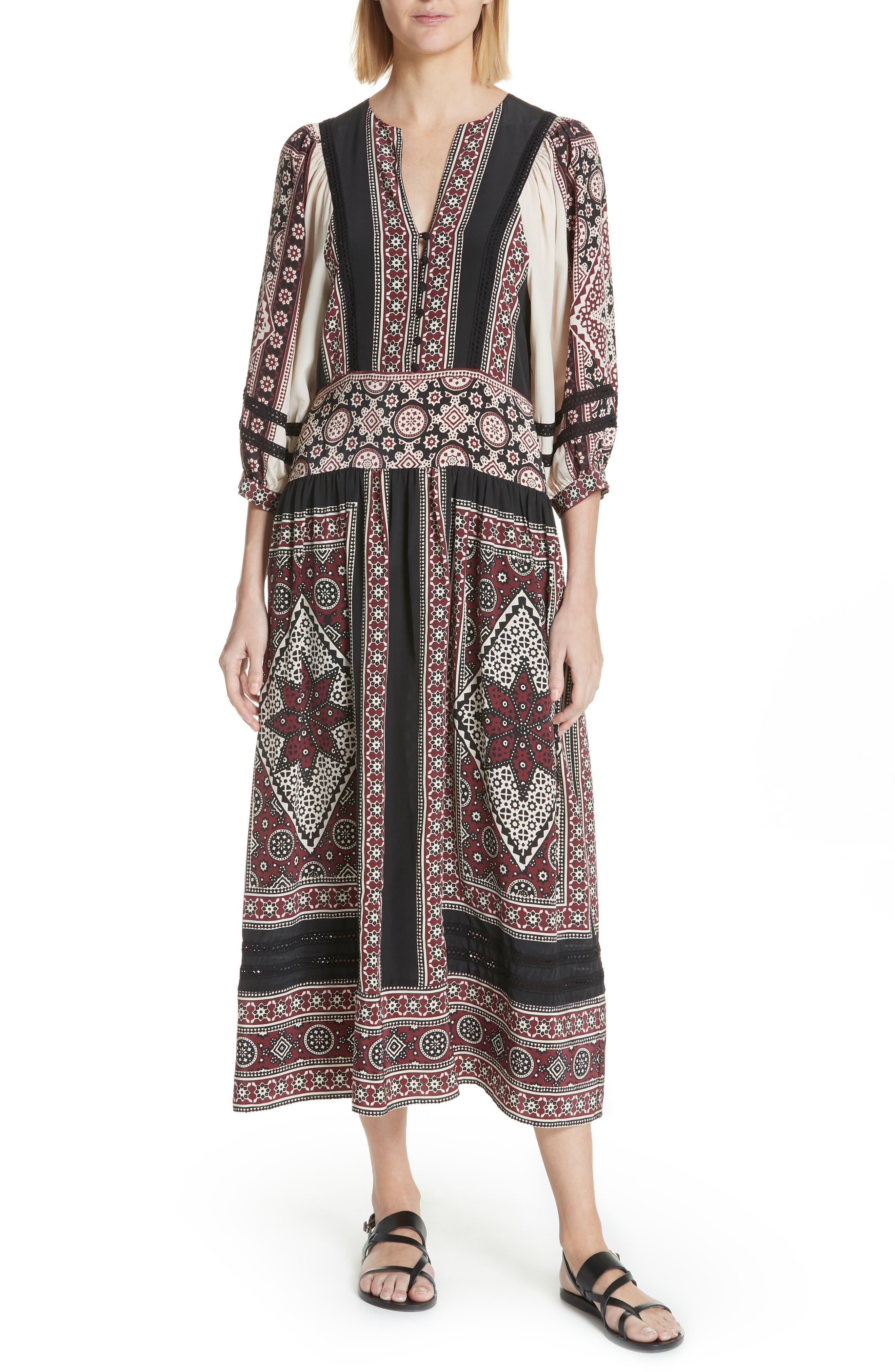 Ezri Print Midi Dress,                         Main,                         color, BRICK MULTI