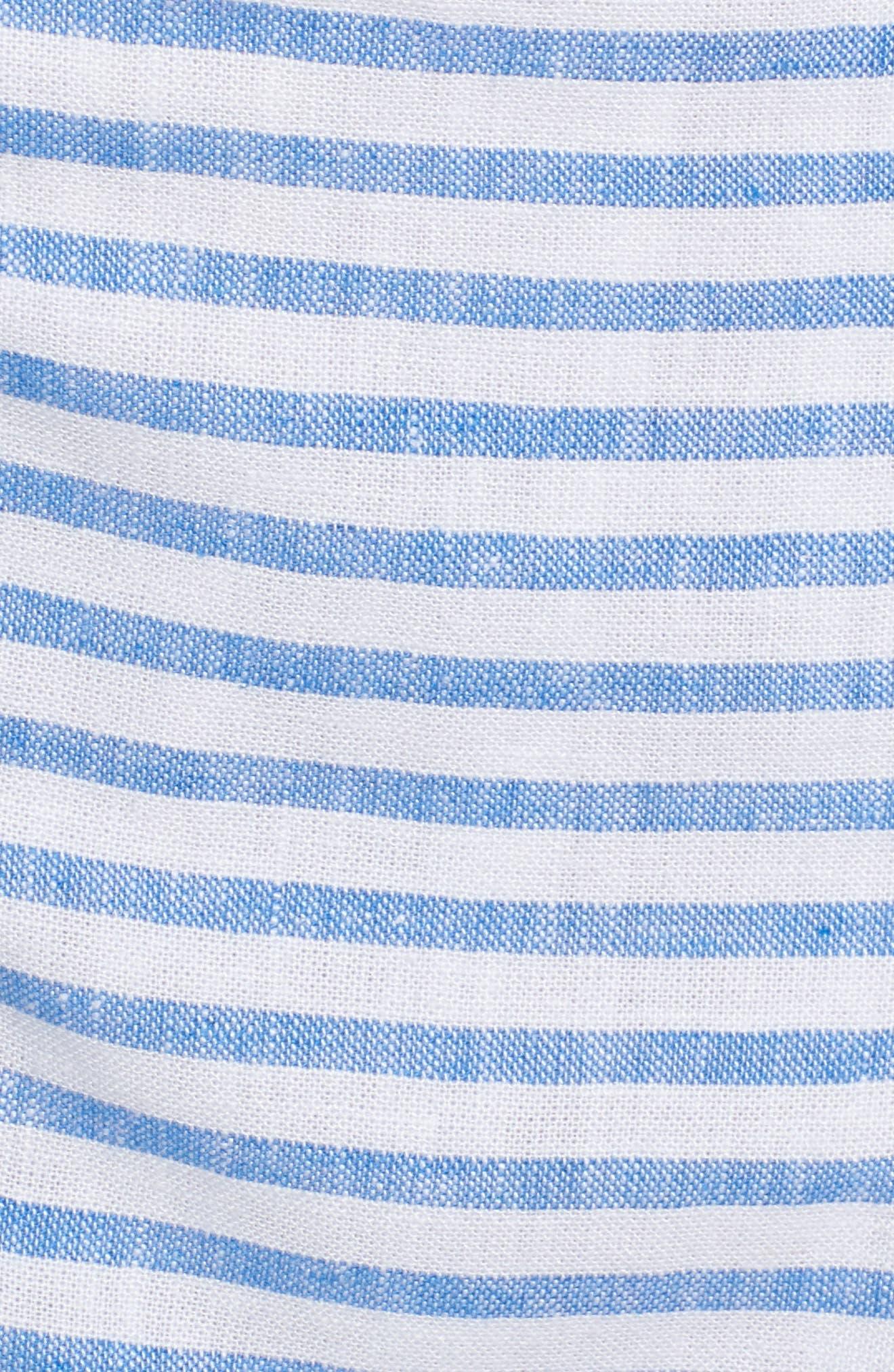 Button Front Stripe Linen Blend Dress,                             Alternate thumbnail 6, color,