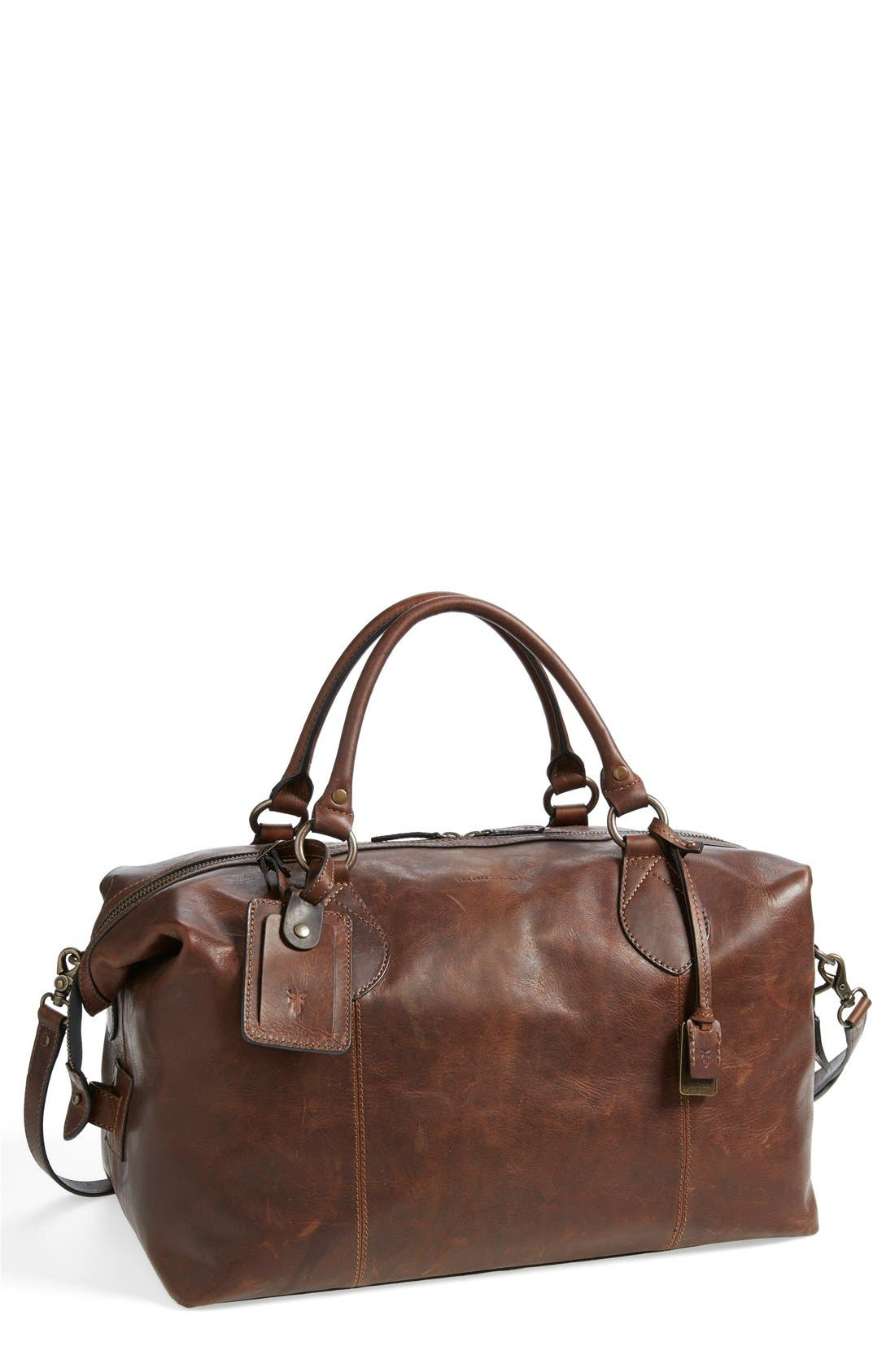 'Logan' Leather Overnight Bag,                             Main thumbnail 1, color,                             DARK BROWN