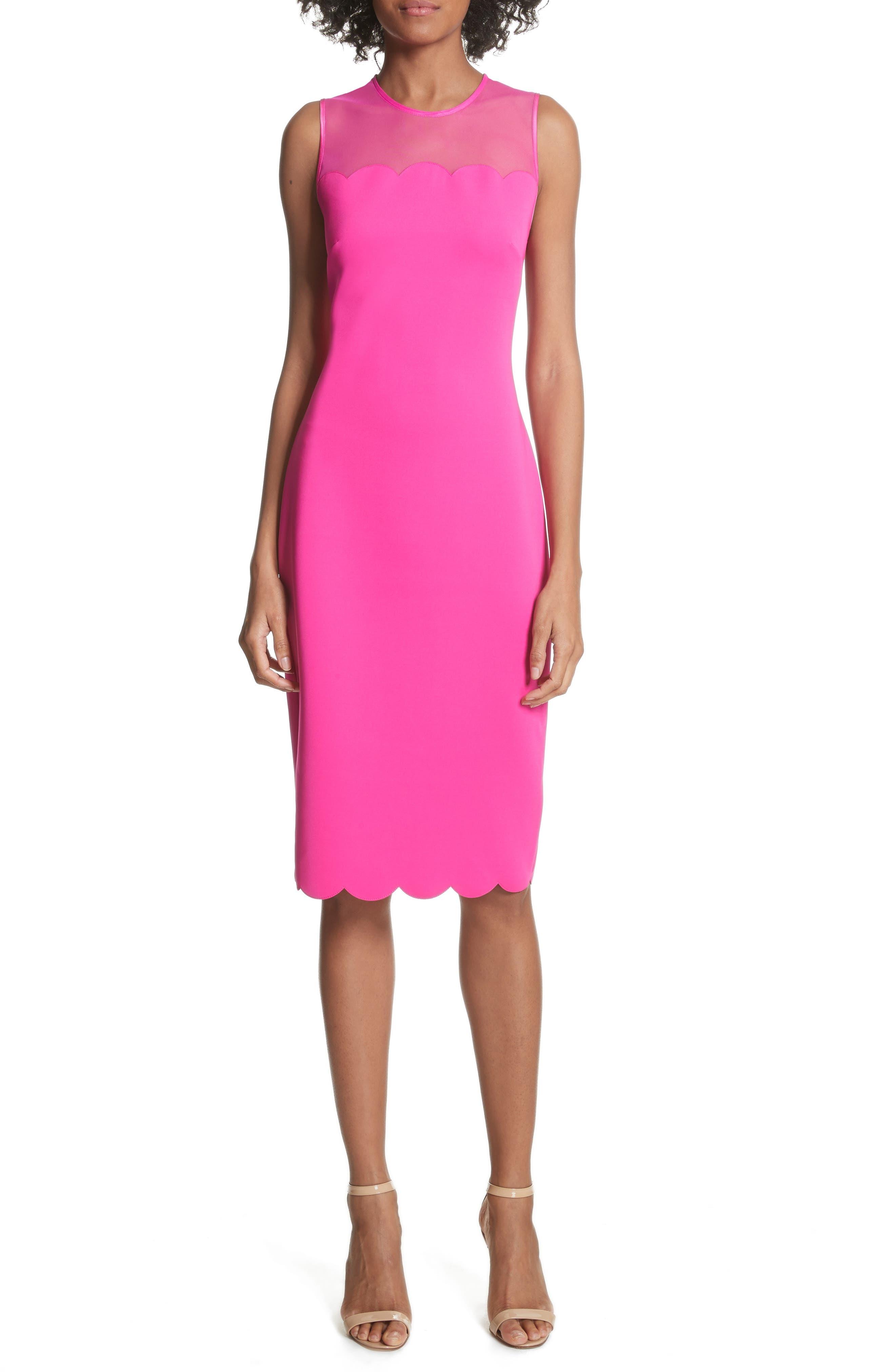 Scalloped Mesh Yoke Body-Con Dress,                             Main thumbnail 2, color,