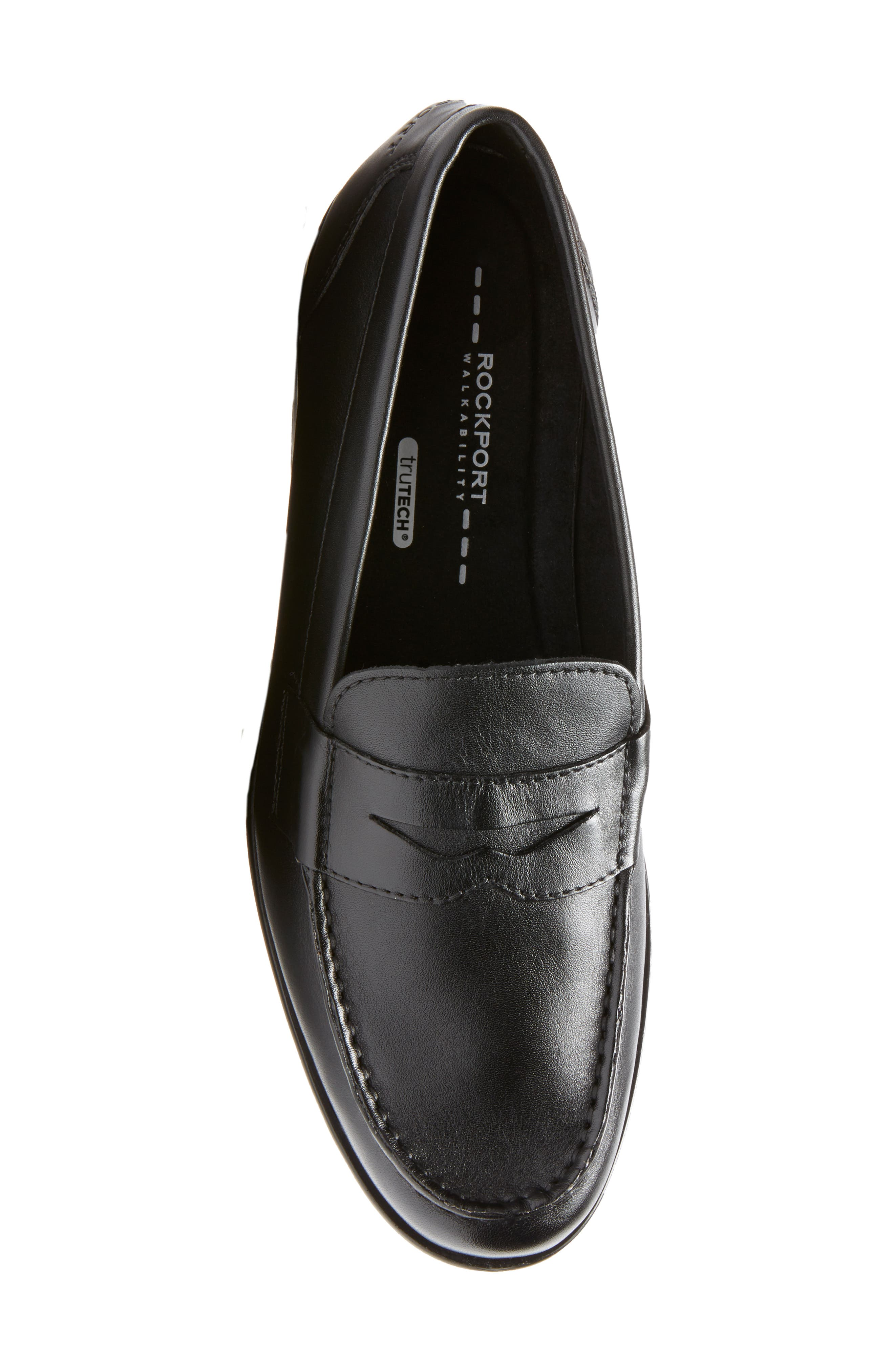 Leather Penny Loafer,                             Alternate thumbnail 2, color,                             BLACK