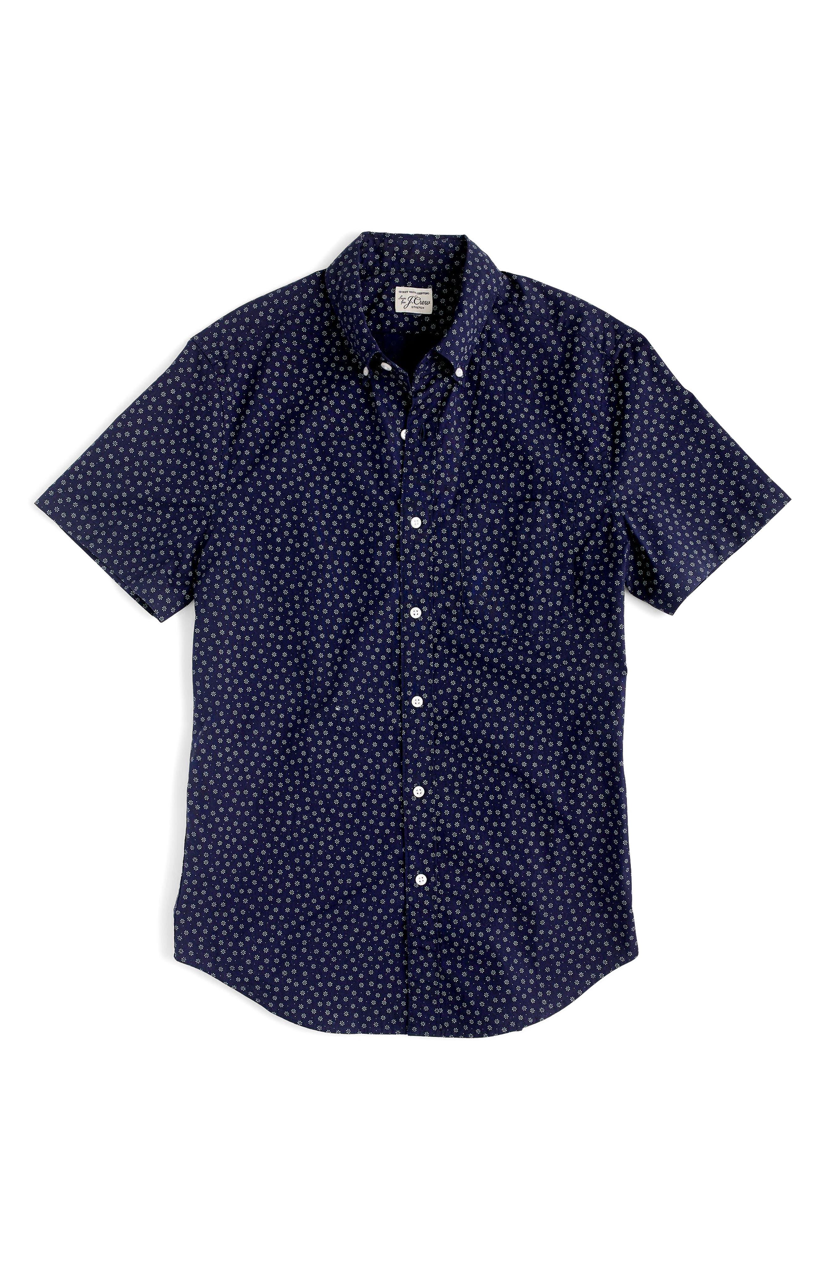 Slim Fit Stretch Secret Wash Short Sleeve Daisy Print Sport Shirt,                             Alternate thumbnail 3, color,                             400