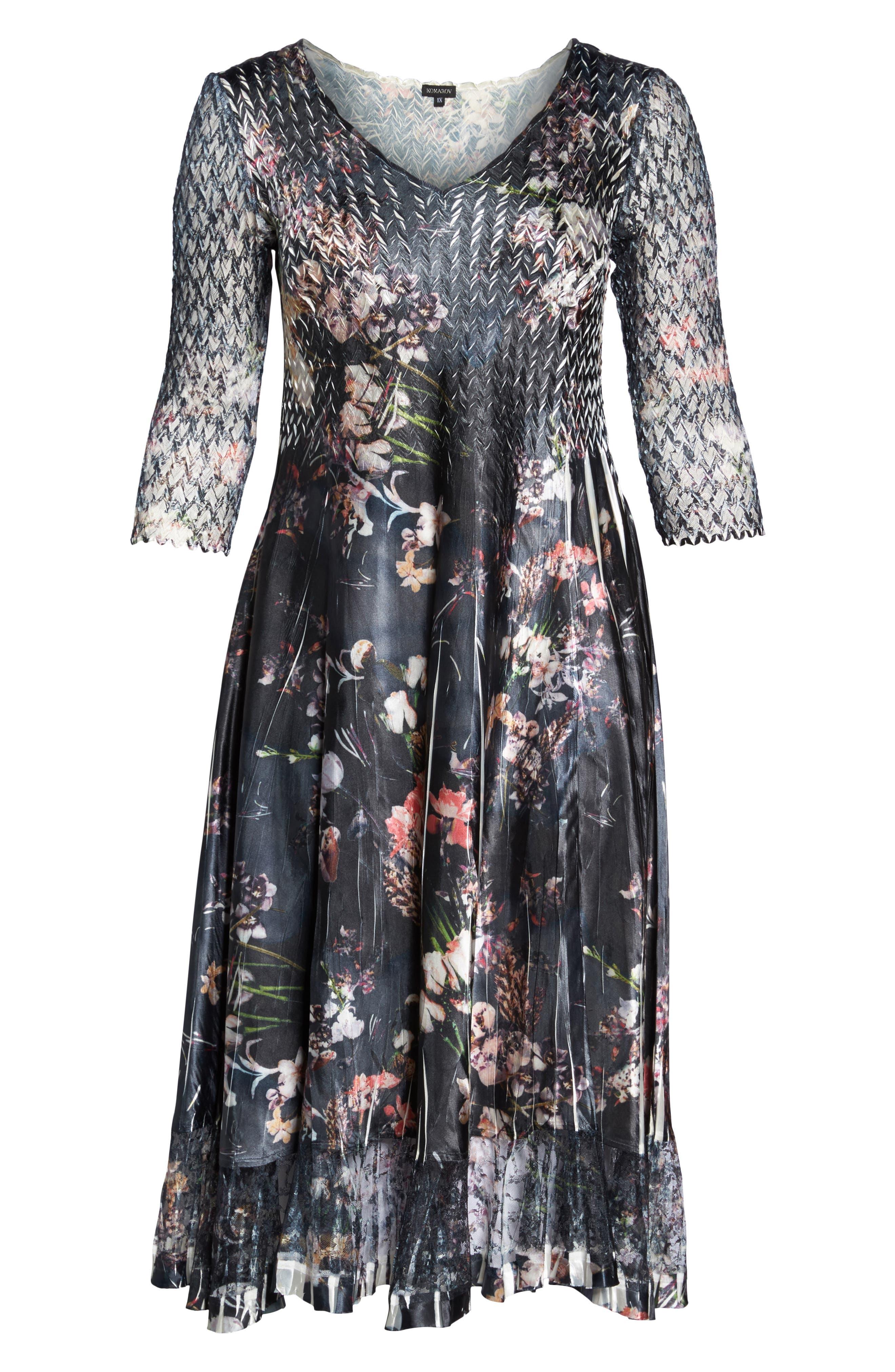 Lace Inset Floral Chiffon A-Line Dress,                             Alternate thumbnail 6, color,                             404