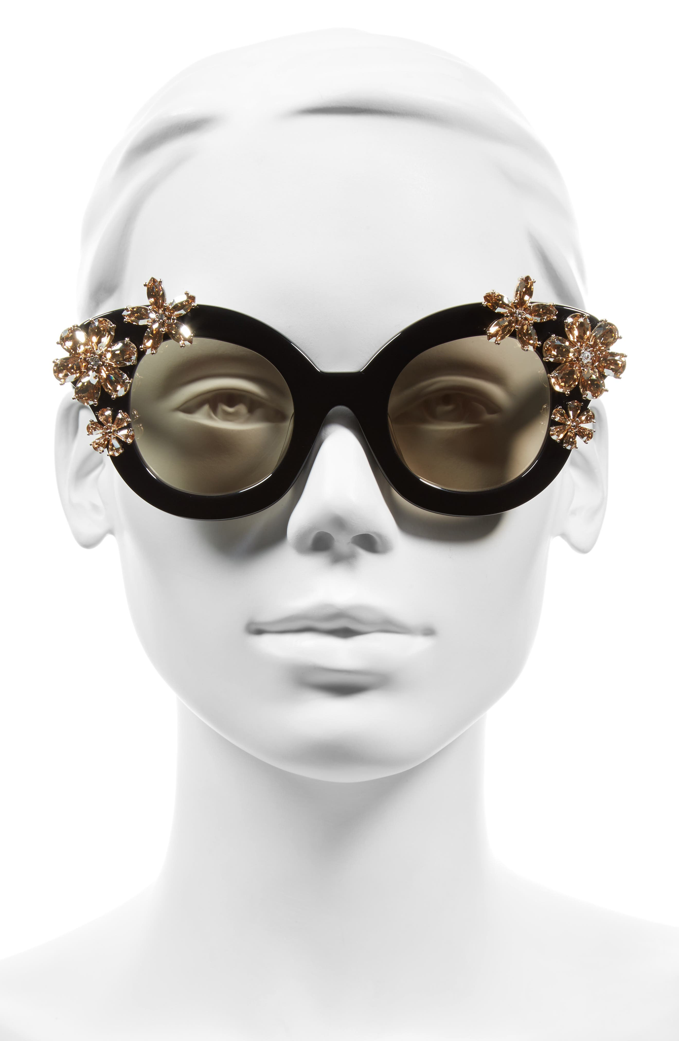 Madison Floral 46mm Special Fit Embellished Cat Eye Sunglasses,                             Alternate thumbnail 2, color,                             001