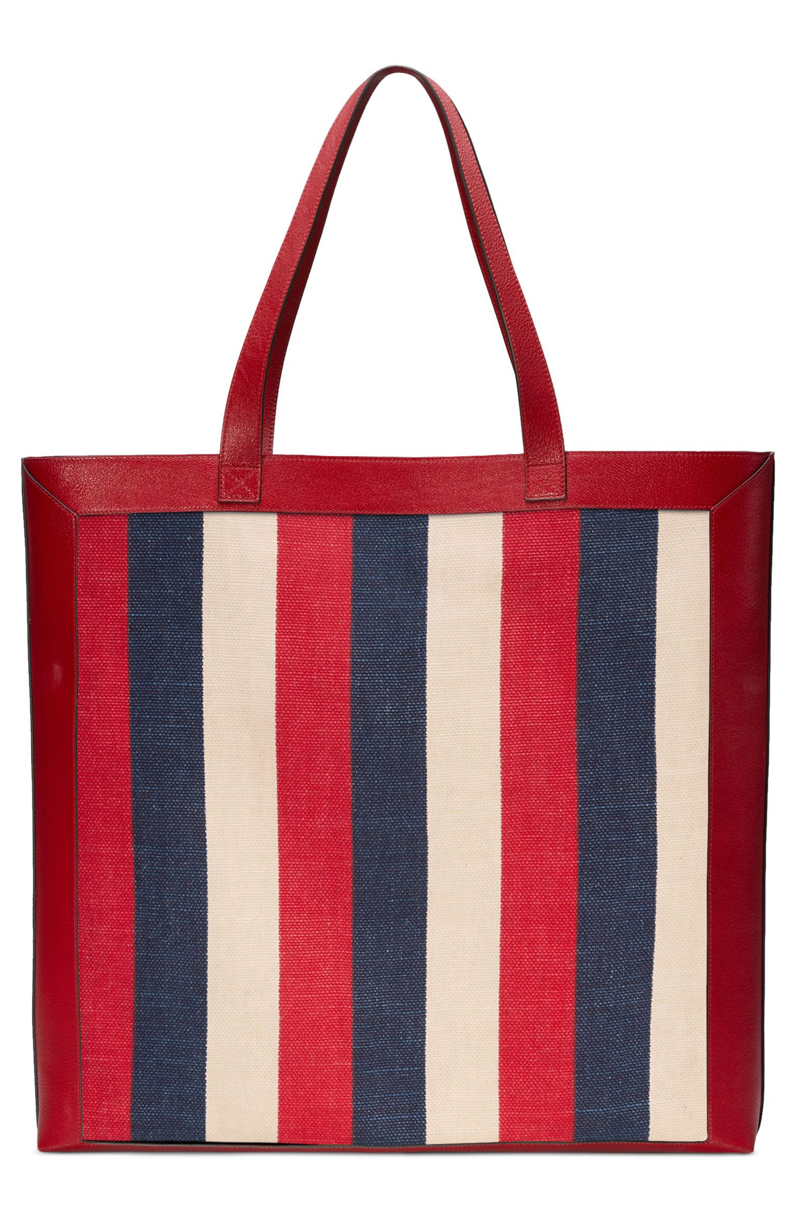 Stripe Canvas Tote,                             Alternate thumbnail 2, color,                             HIBISCUS RED/ WHITE/ BLUE
