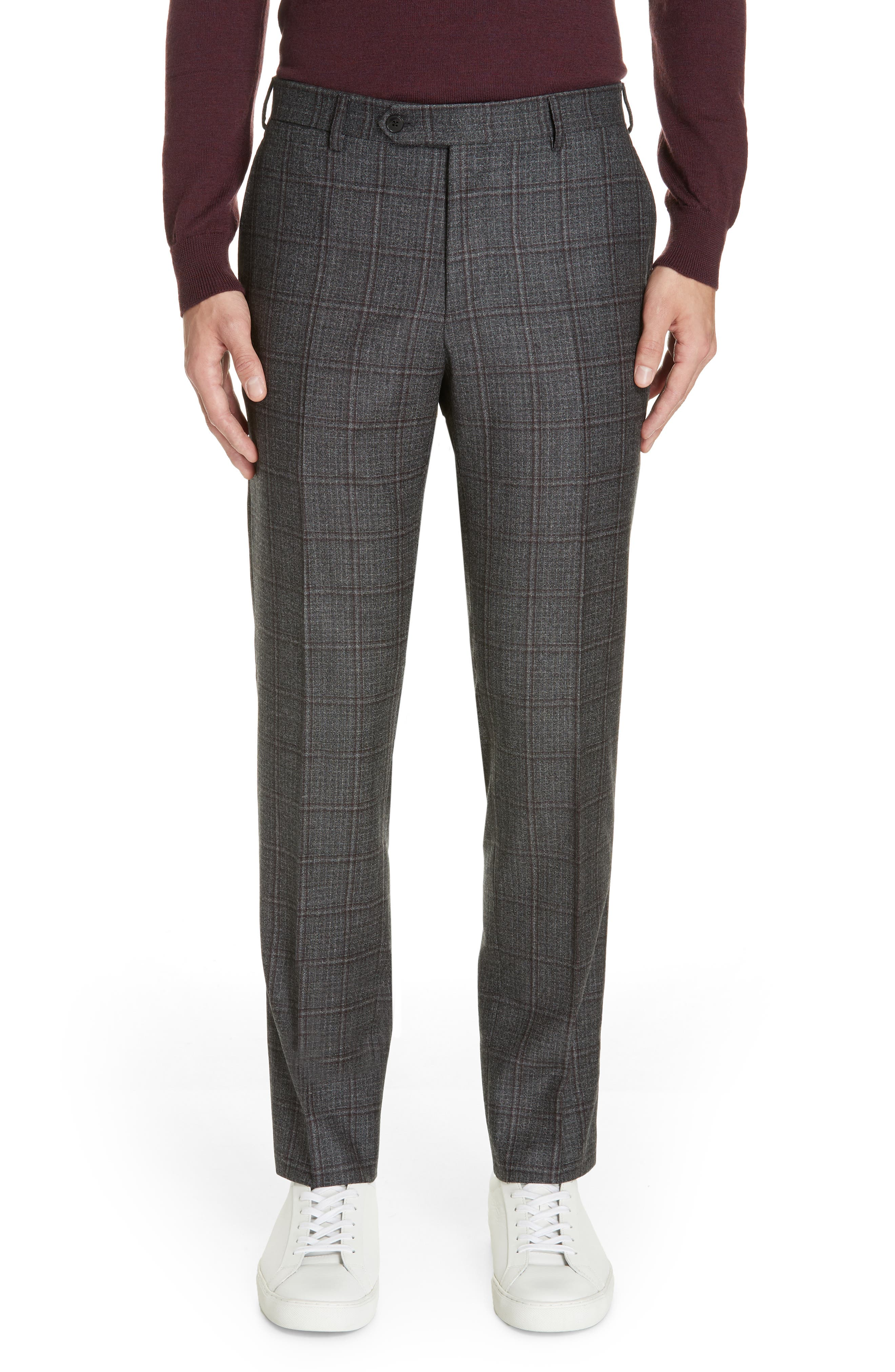 Trim Fit Plaid Wool Suit,                             Alternate thumbnail 5, color,                             GREY/ BURGUNDY
