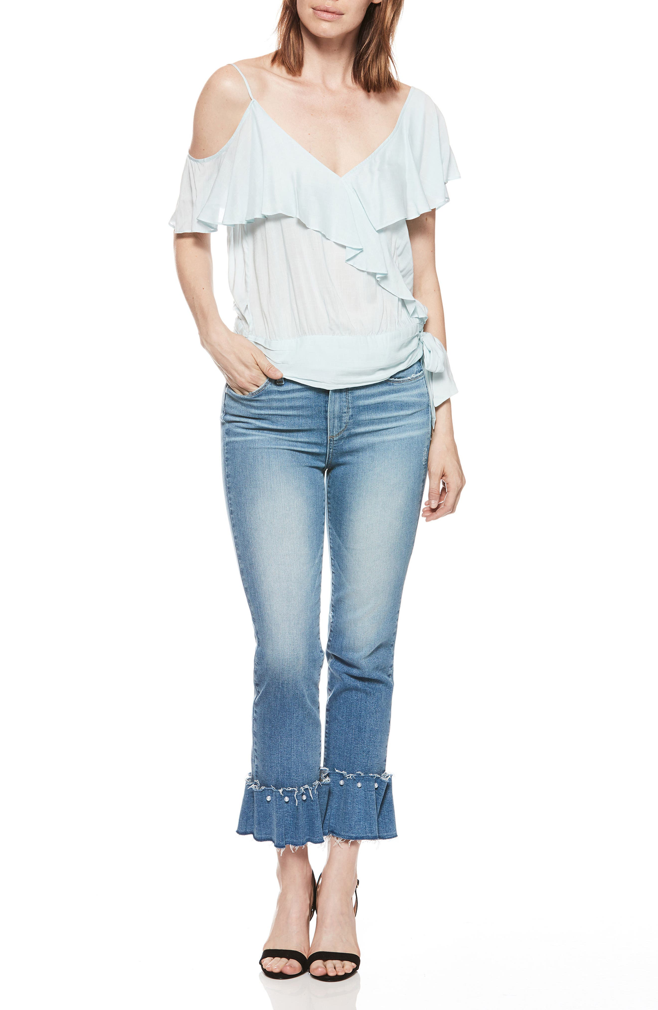Transcend Vintage - Hoxton Embellished Ruffle High Waist Jeans,                             Alternate thumbnail 7, color,                             PALMS