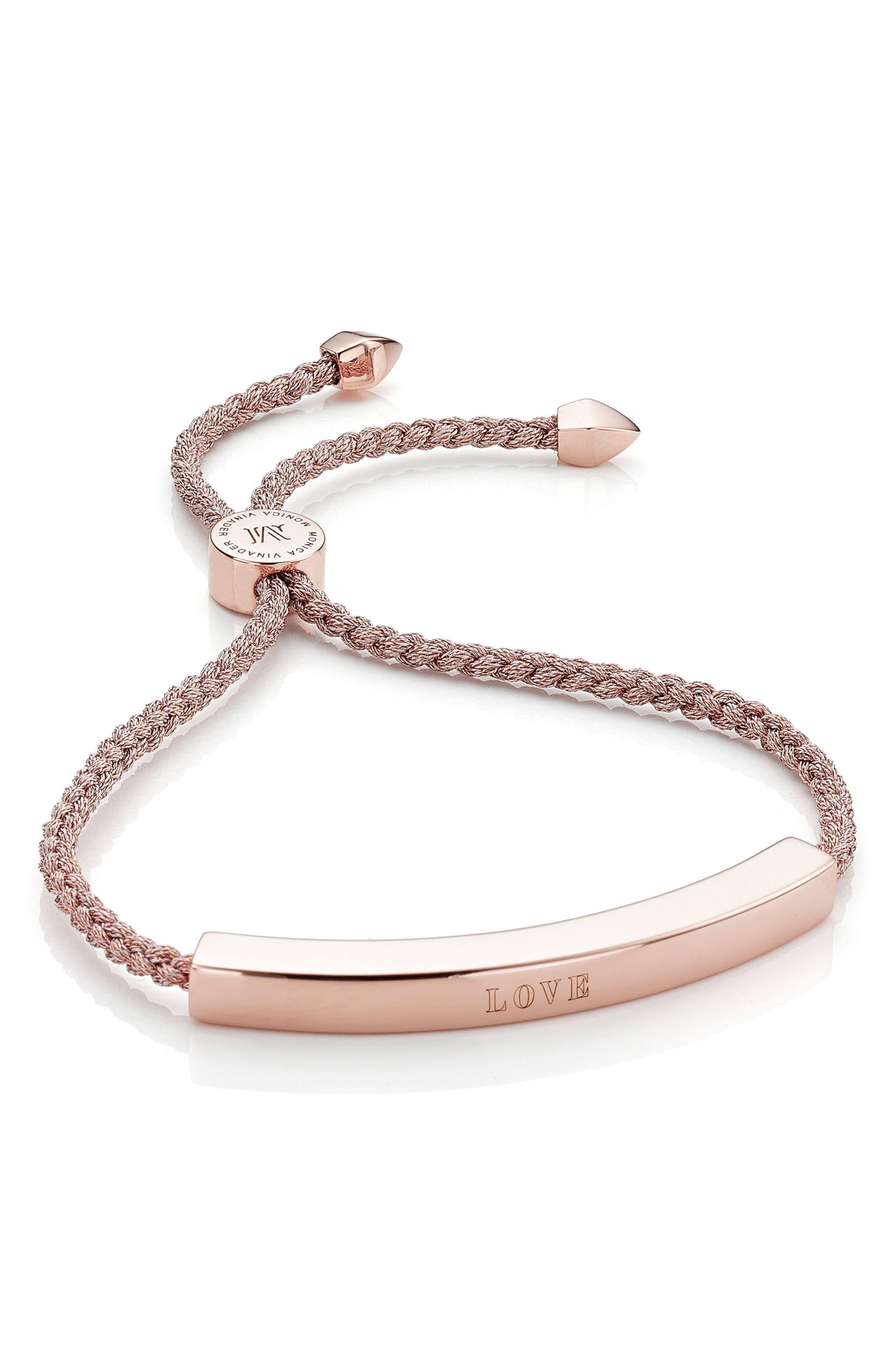 Engravable Large Linear Friendship Bracelet,                             Alternate thumbnail 3, color,                             METALLIC/ ROSE GOLD