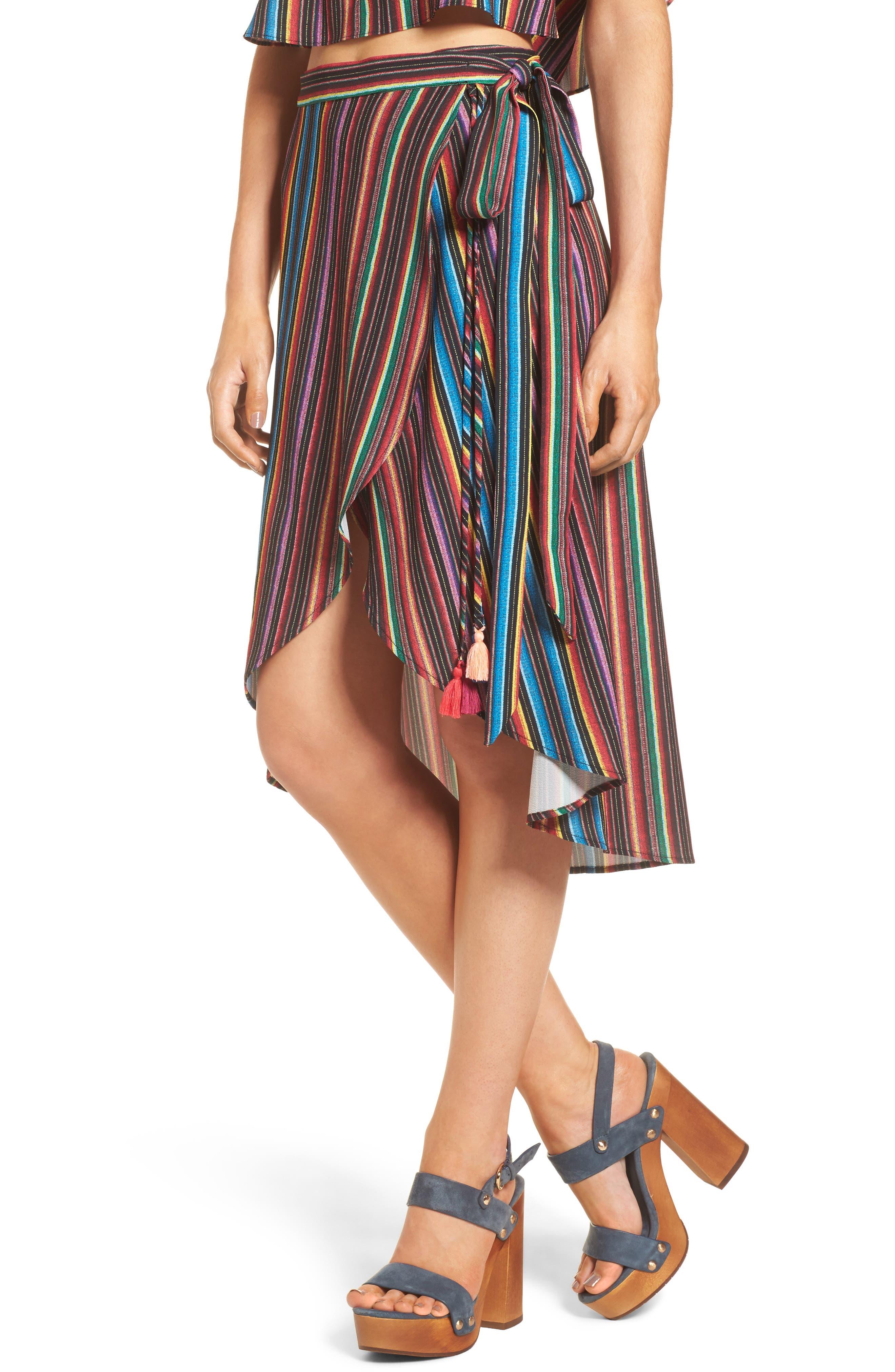 Panama Tassel Wrap Skirt,                         Main,                         color, 001