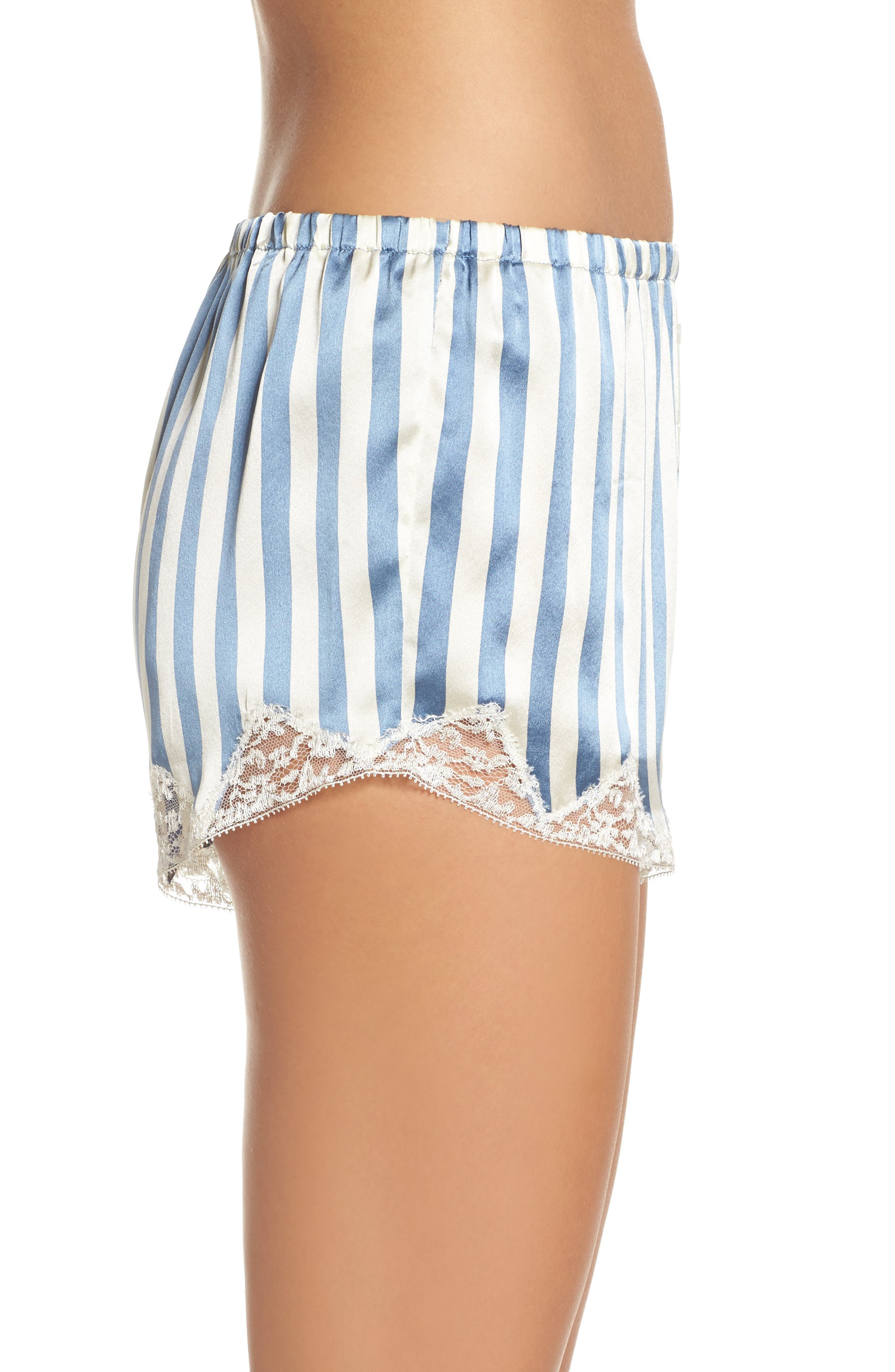 Josephine Silk Stripe Shorts,                             Alternate thumbnail 3, color,