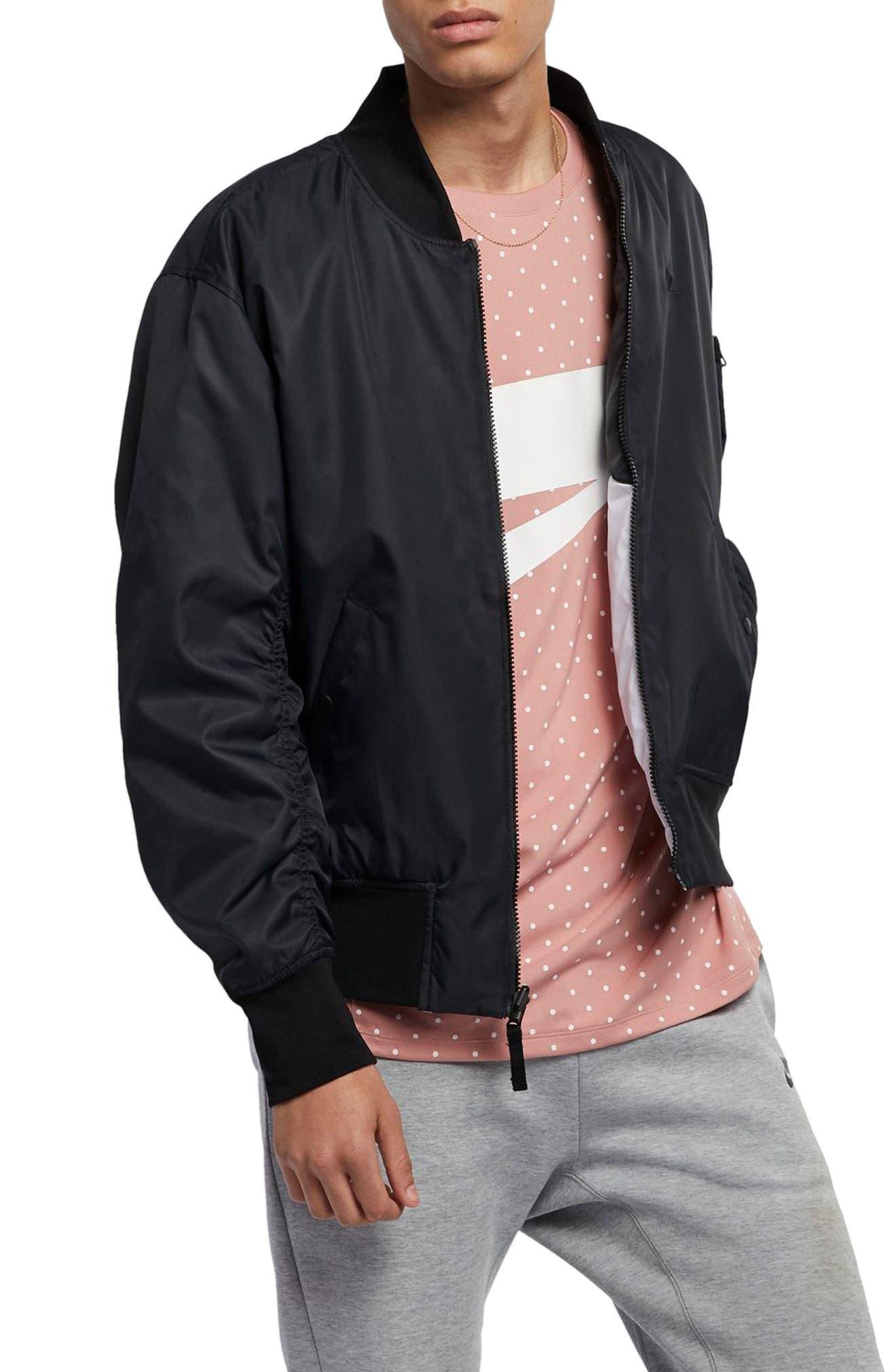Sportswear Reversible Insulated Bomber Jacket,                             Main thumbnail 1, color,                             BLACK/ BLACK/ WHITE/ WHITE