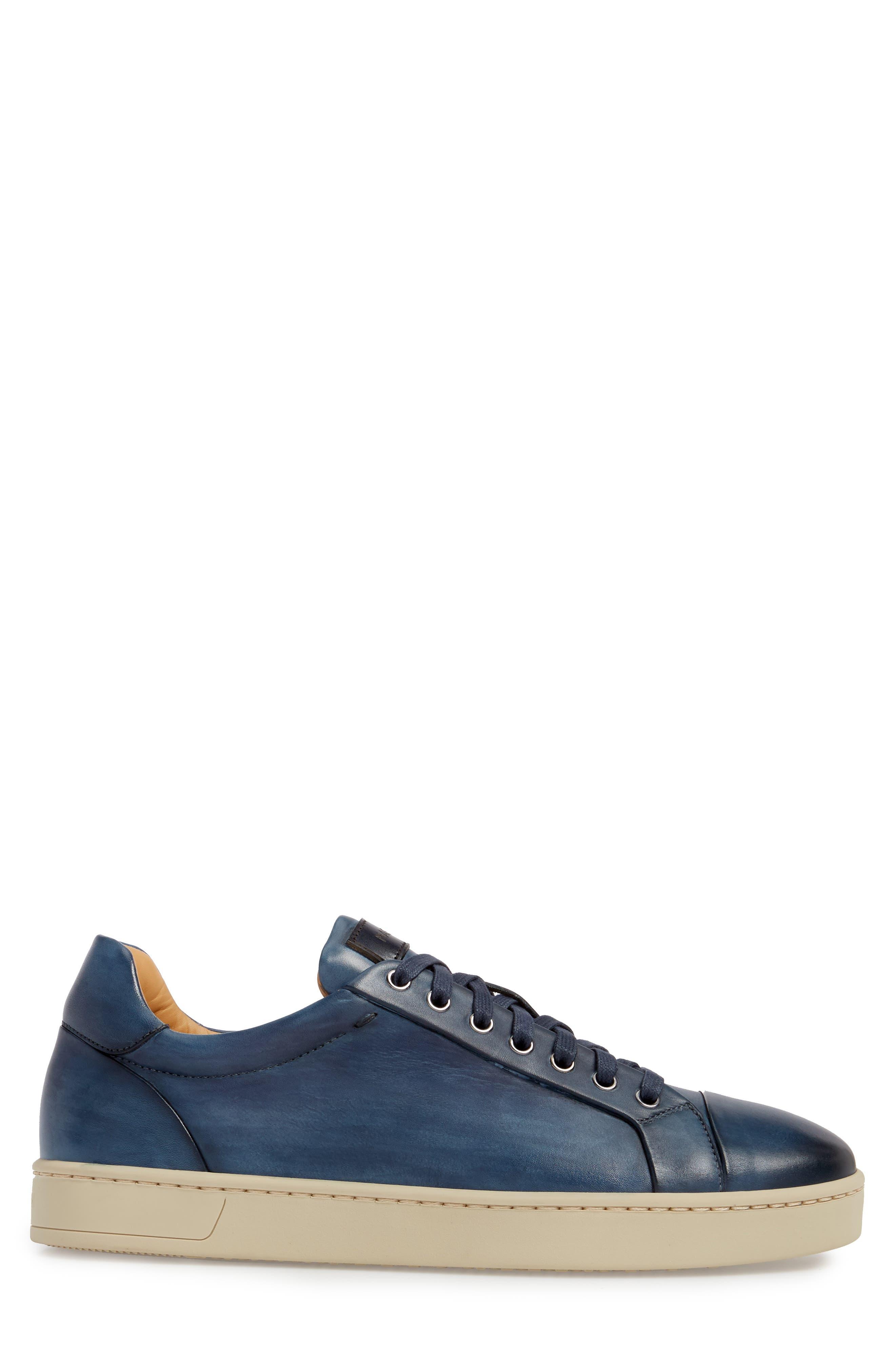 Erardo Low Top Sneaker,                             Alternate thumbnail 3, color,                             BLUE LEATHER