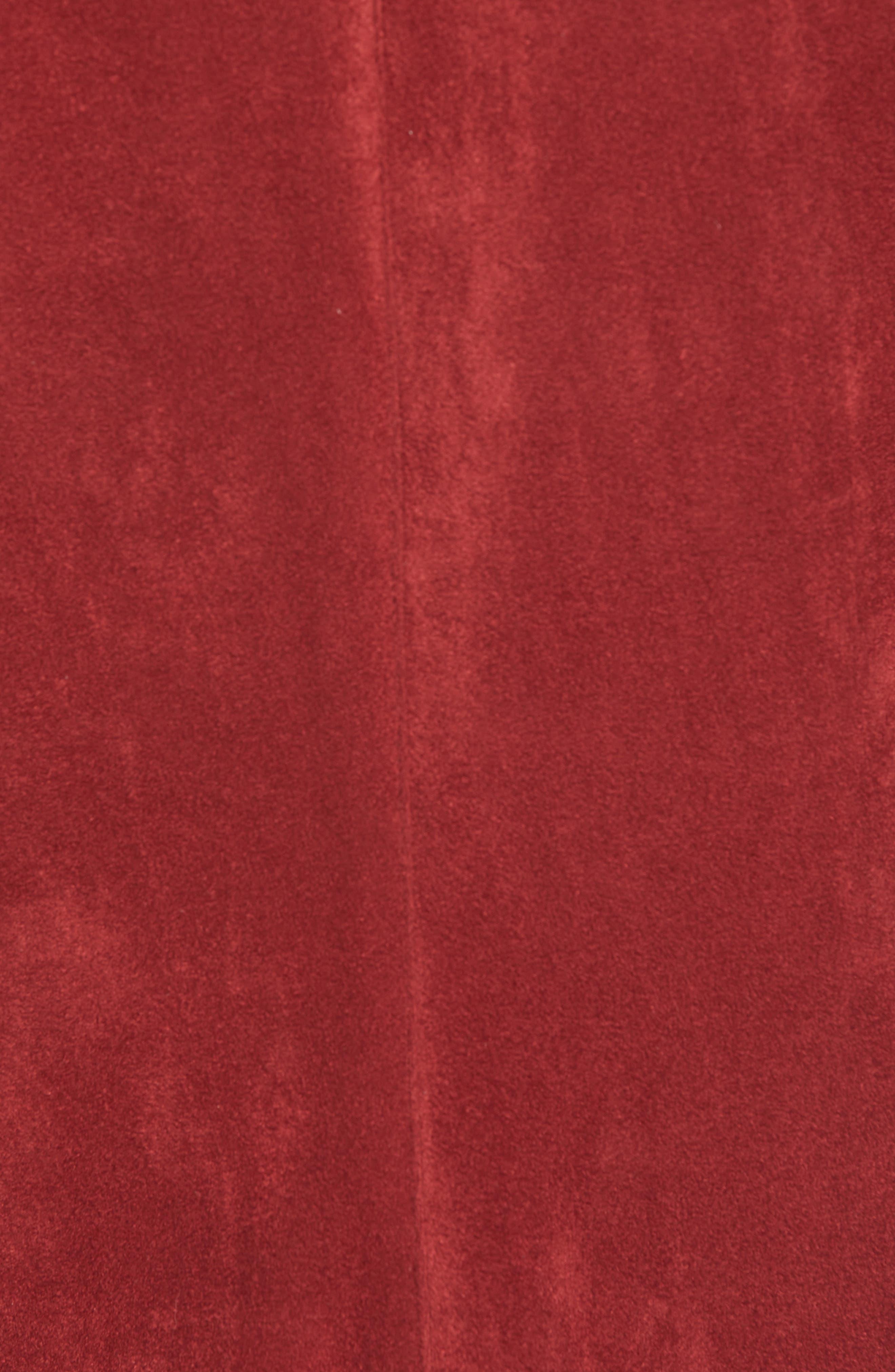 BB DAKOTA,                             Nicholson Faux Suede Drape Front Jacket,                             Alternate thumbnail 7, color,                             BRICK RED