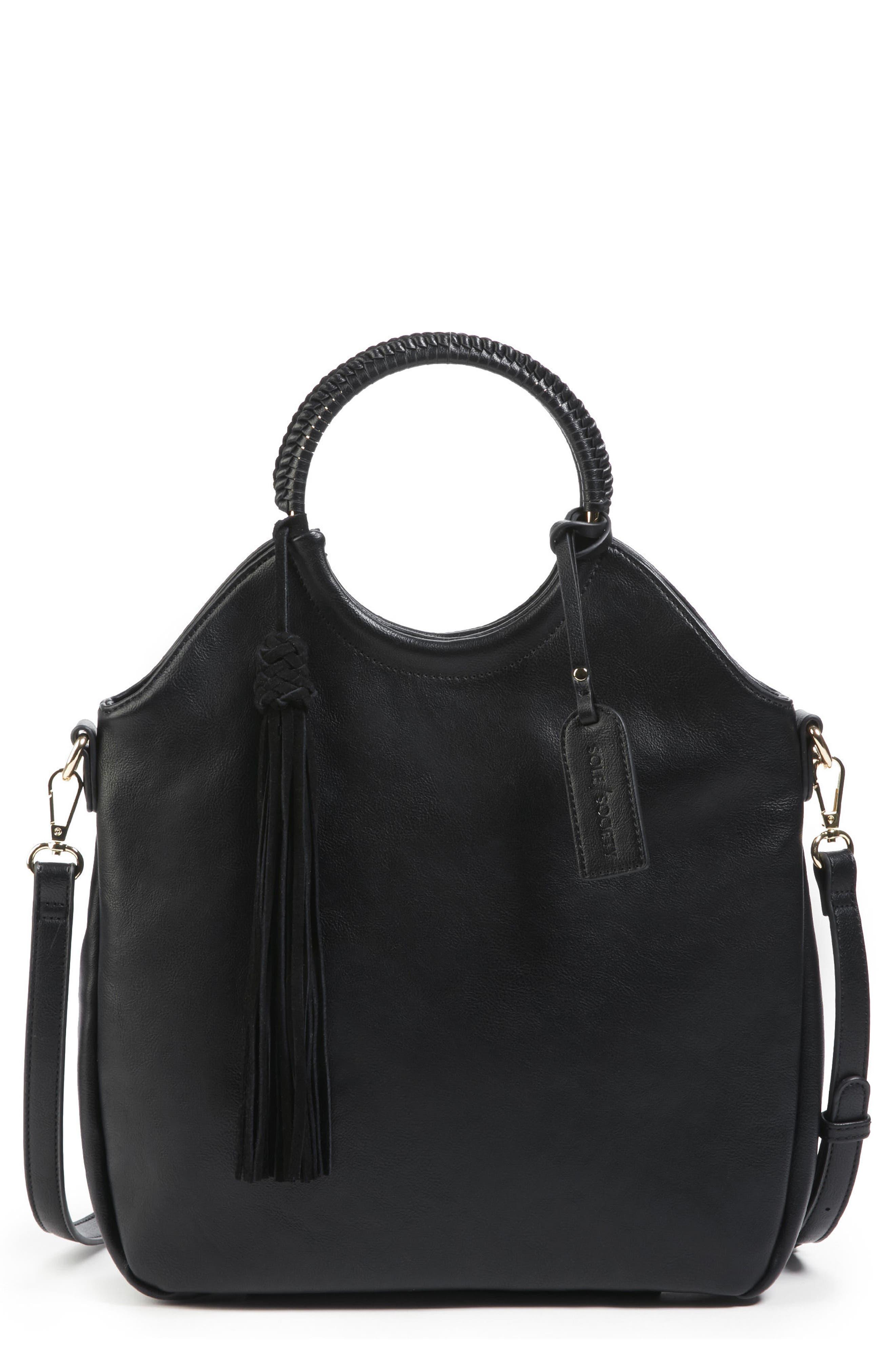 Faux Leather Bracelet Bag,                             Main thumbnail 1, color,                             001