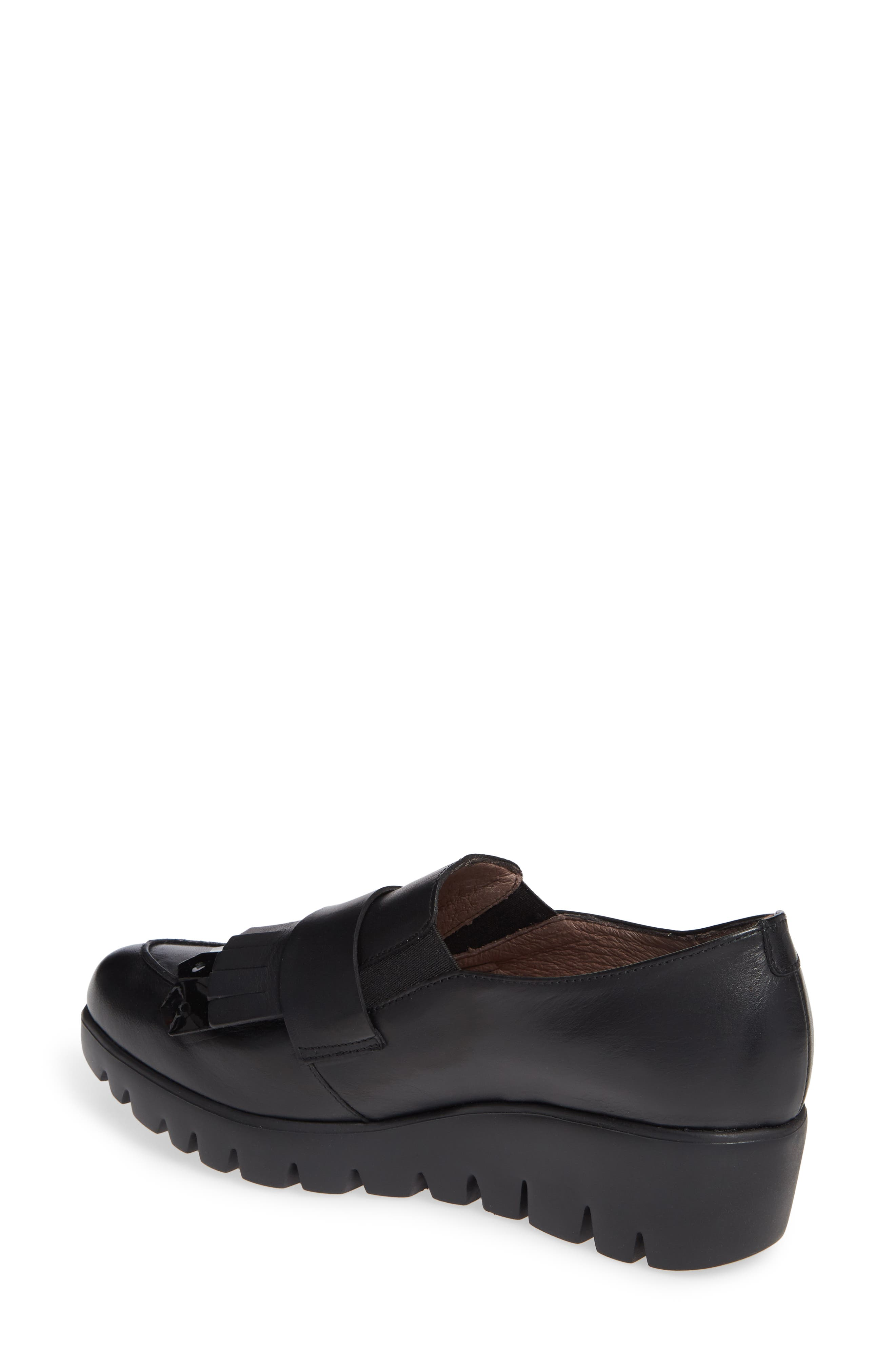 Kiltie Wedge Loafer,                             Alternate thumbnail 2, color,                             BLACK PATENT AND LEATHER