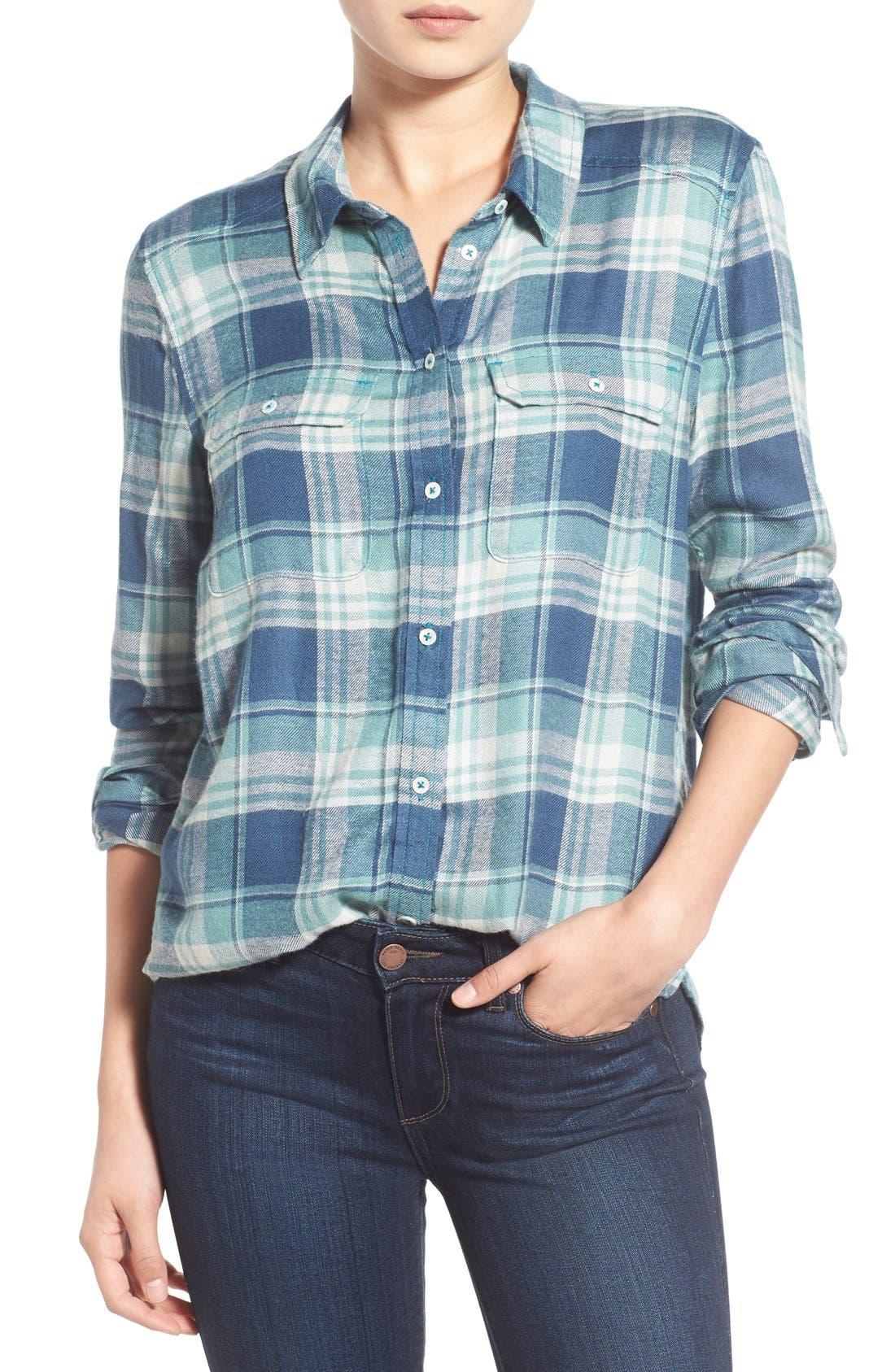 PAIGE,                             Denim 'Trudy' Plaid Shirt,                             Main thumbnail 1, color,                             423