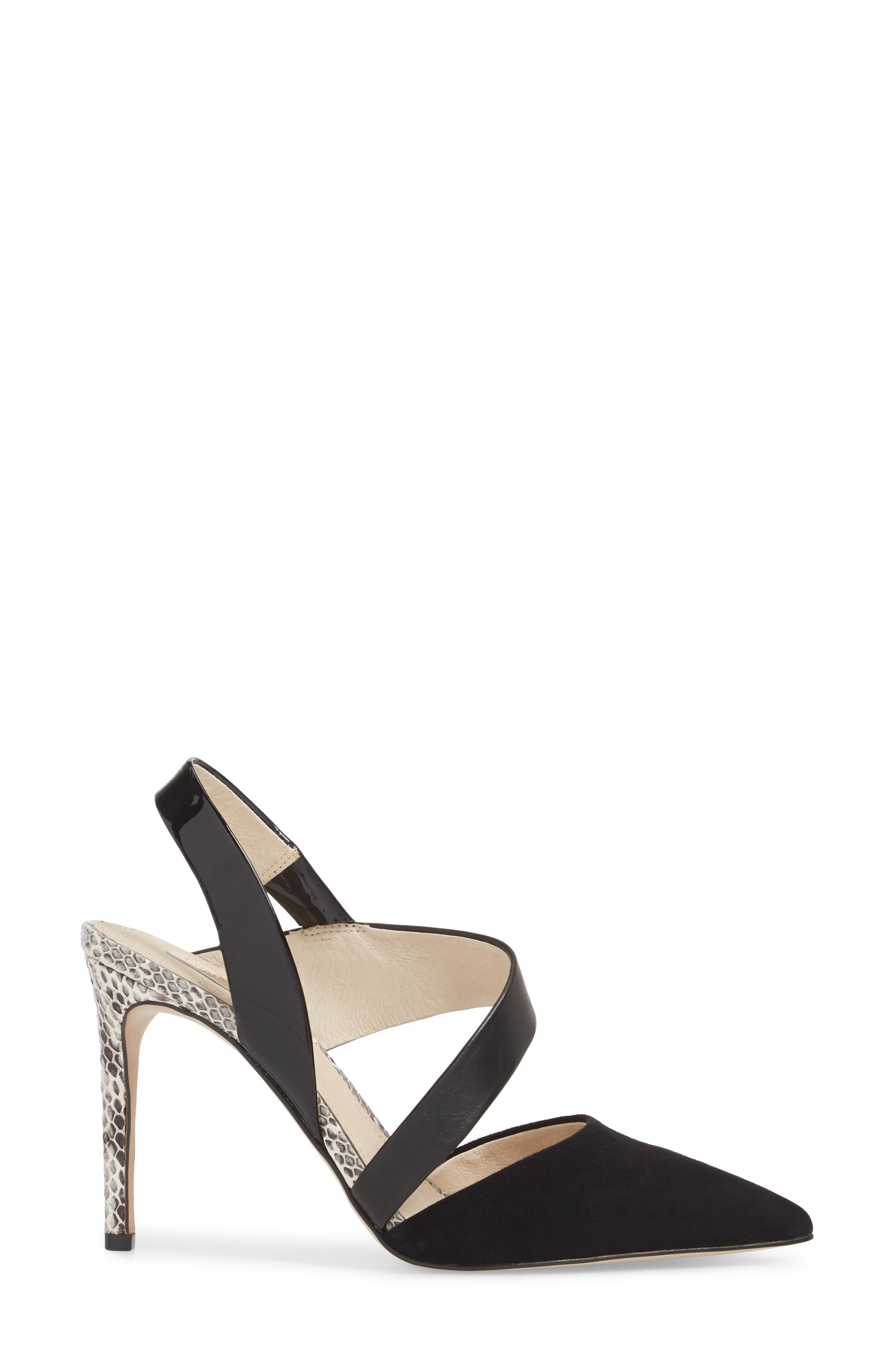 Jerry Pointy Toe Slingback Pump,                             Alternate thumbnail 3, color,                             BLACK SUEDE