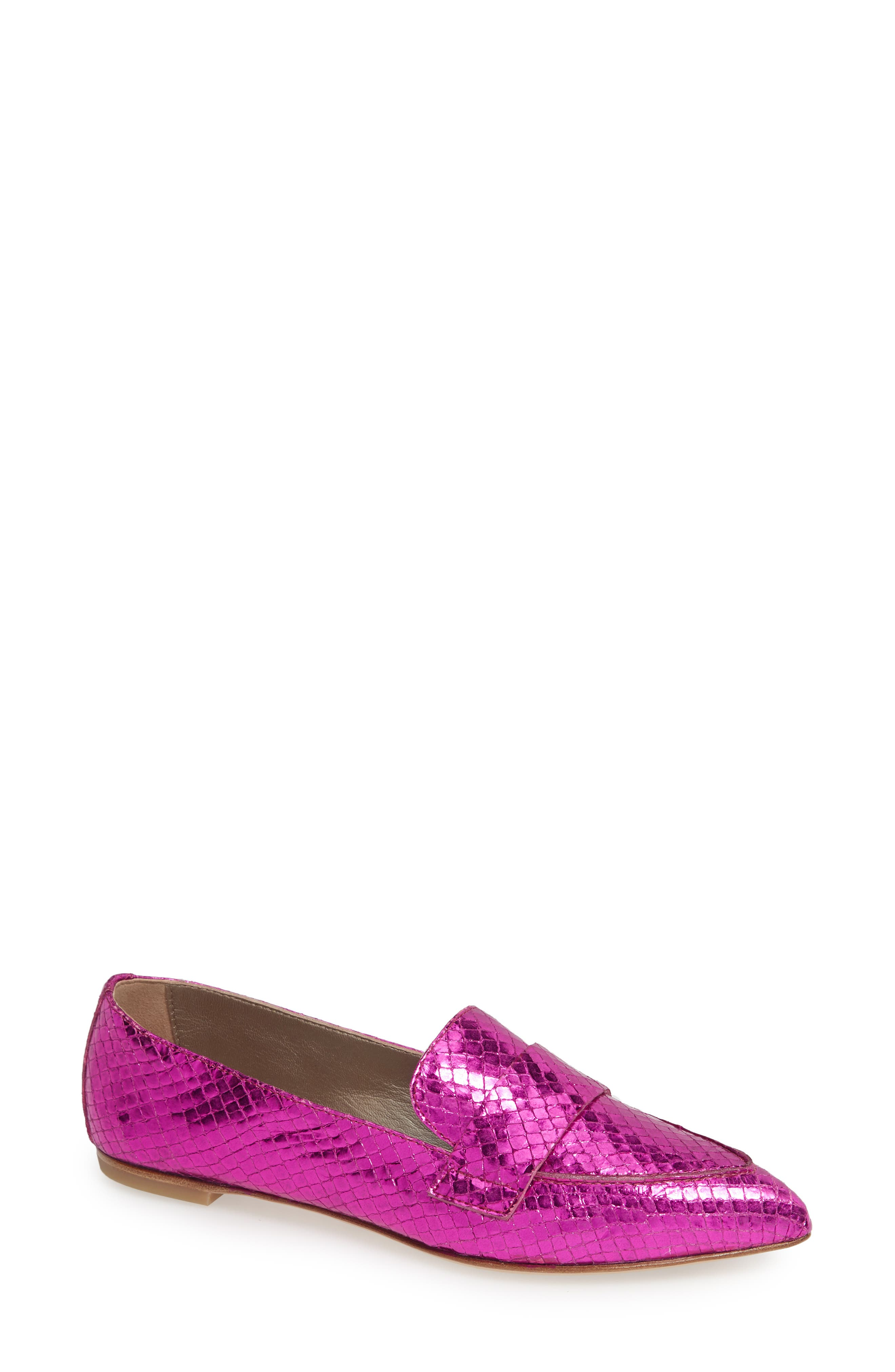Agl Softy Pointy Toe Moccasin Loafer, Pink