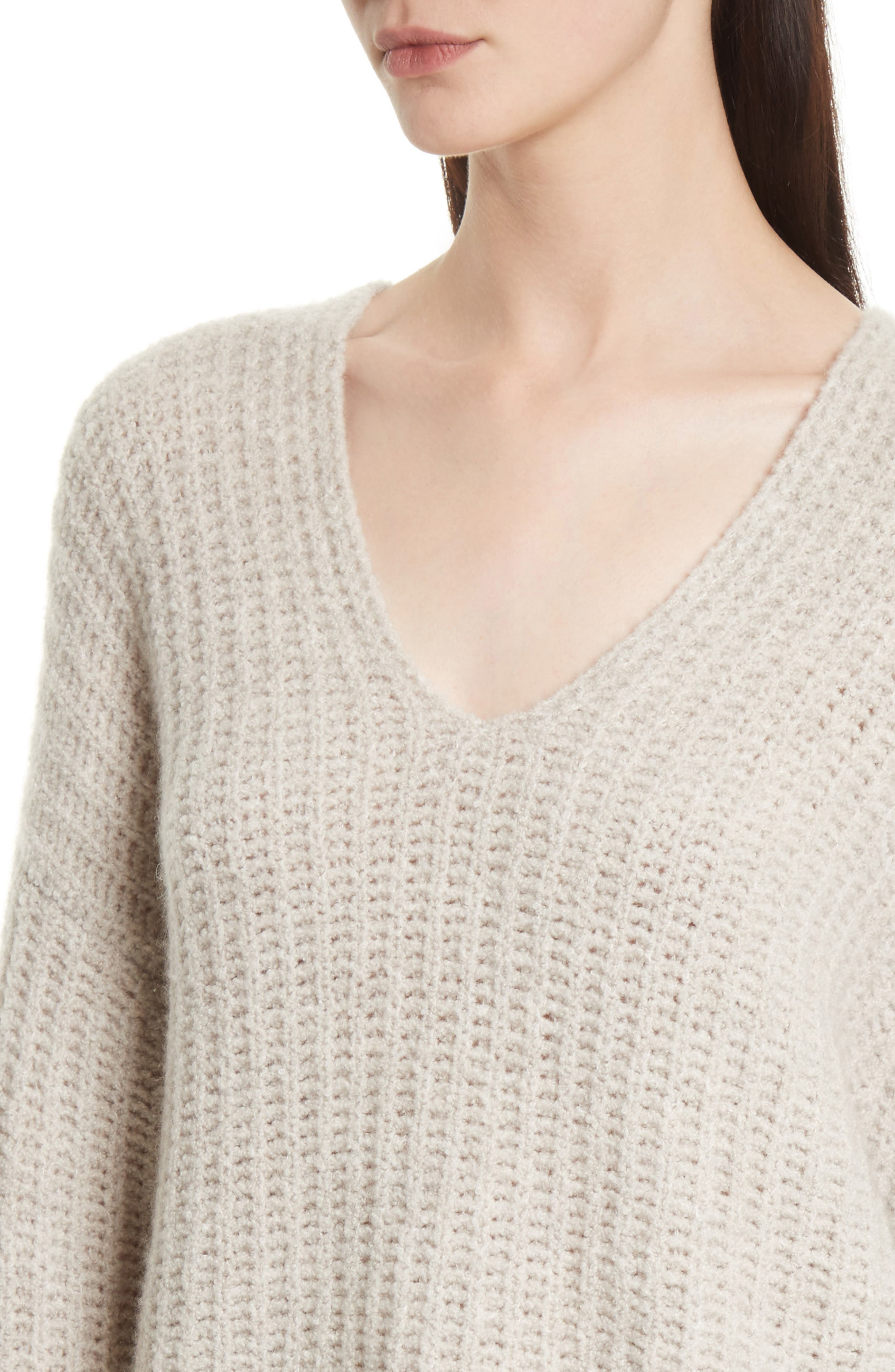 Deep V-Neck Cashmere Blend Sweater,                             Alternate thumbnail 4, color,                             255