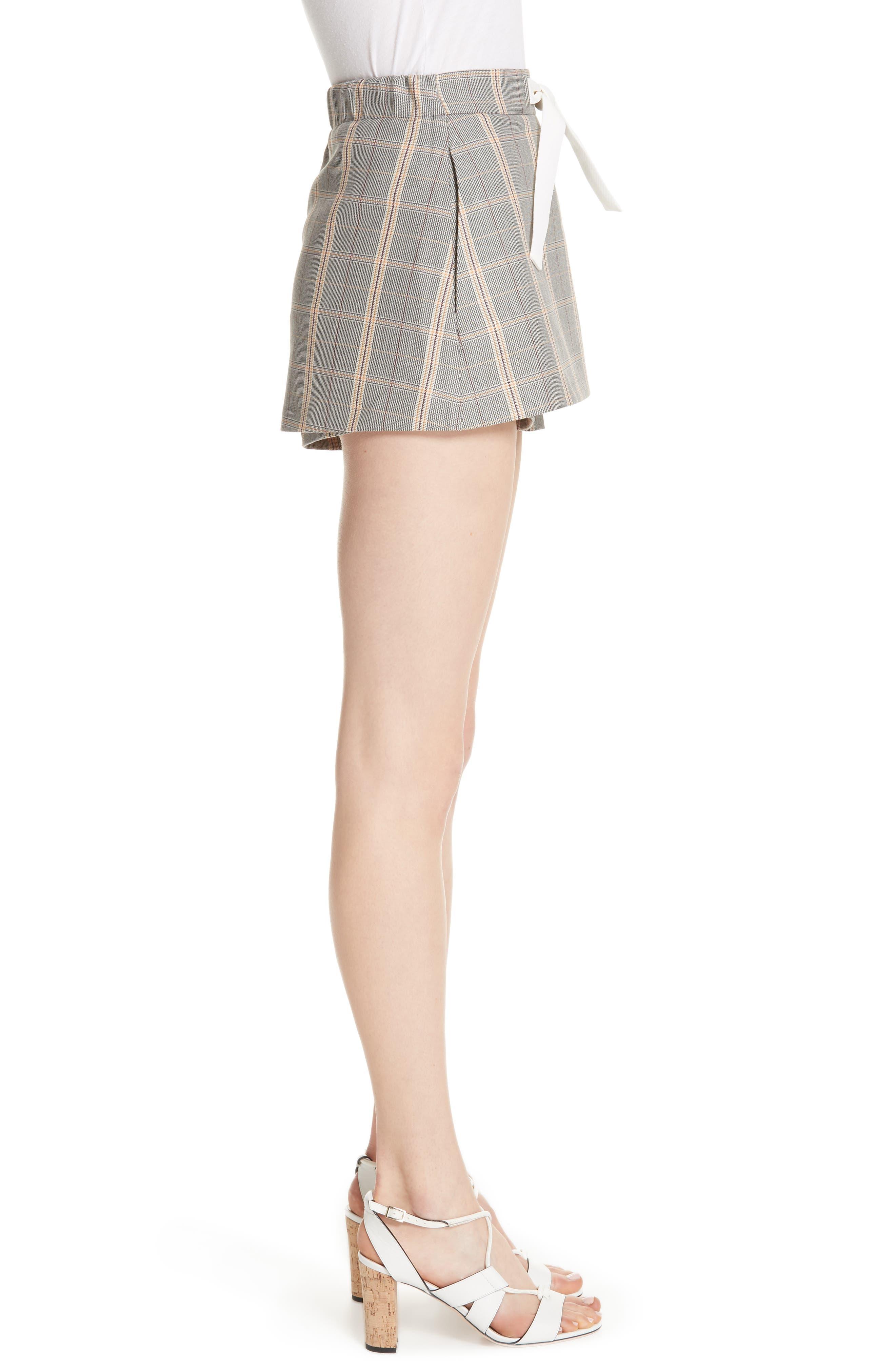 Plaid Skirt Front Shorts,                             Alternate thumbnail 3, color,                             020
