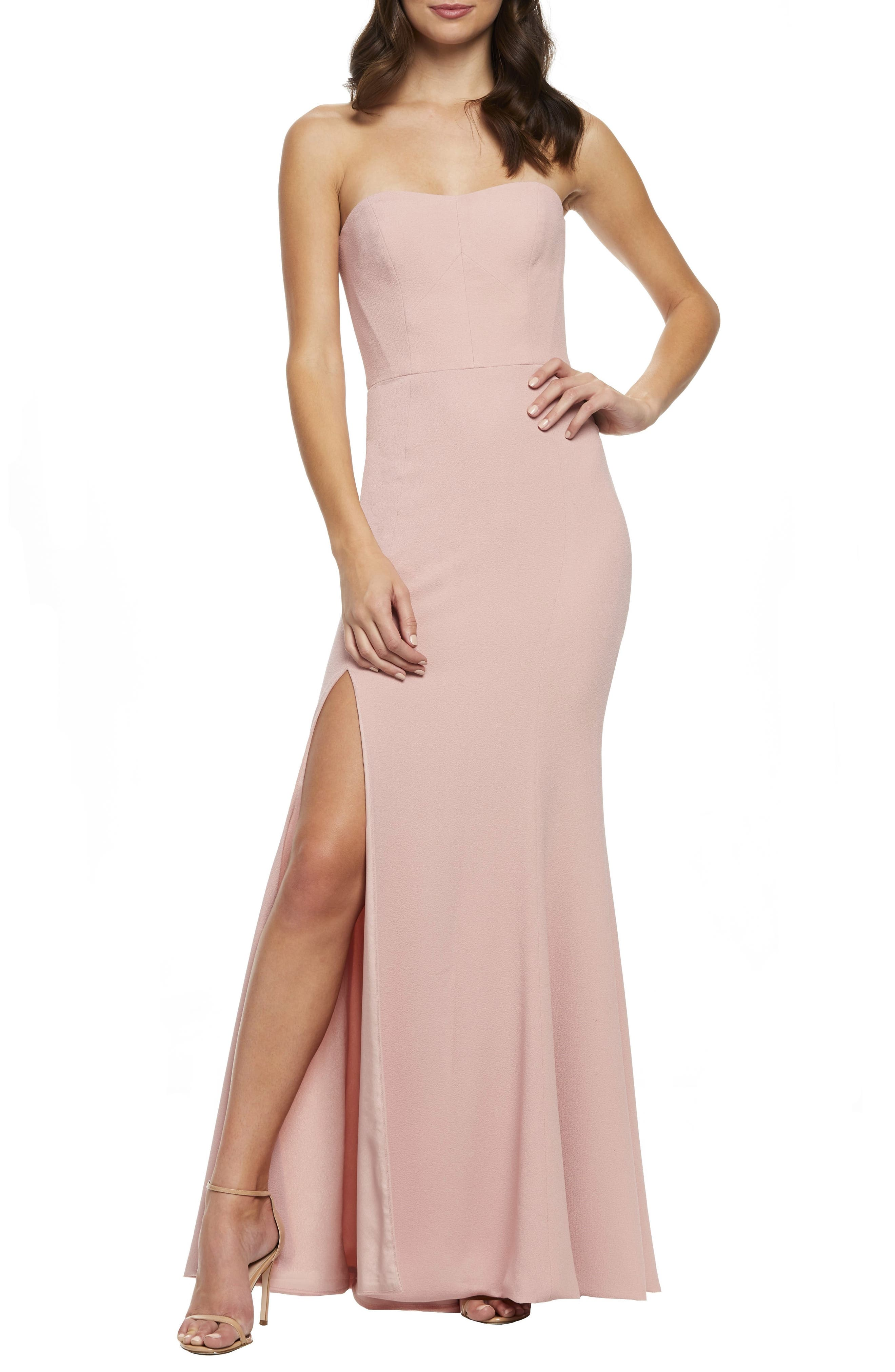 Dress The Population Ellen Strapless Gown, Pink
