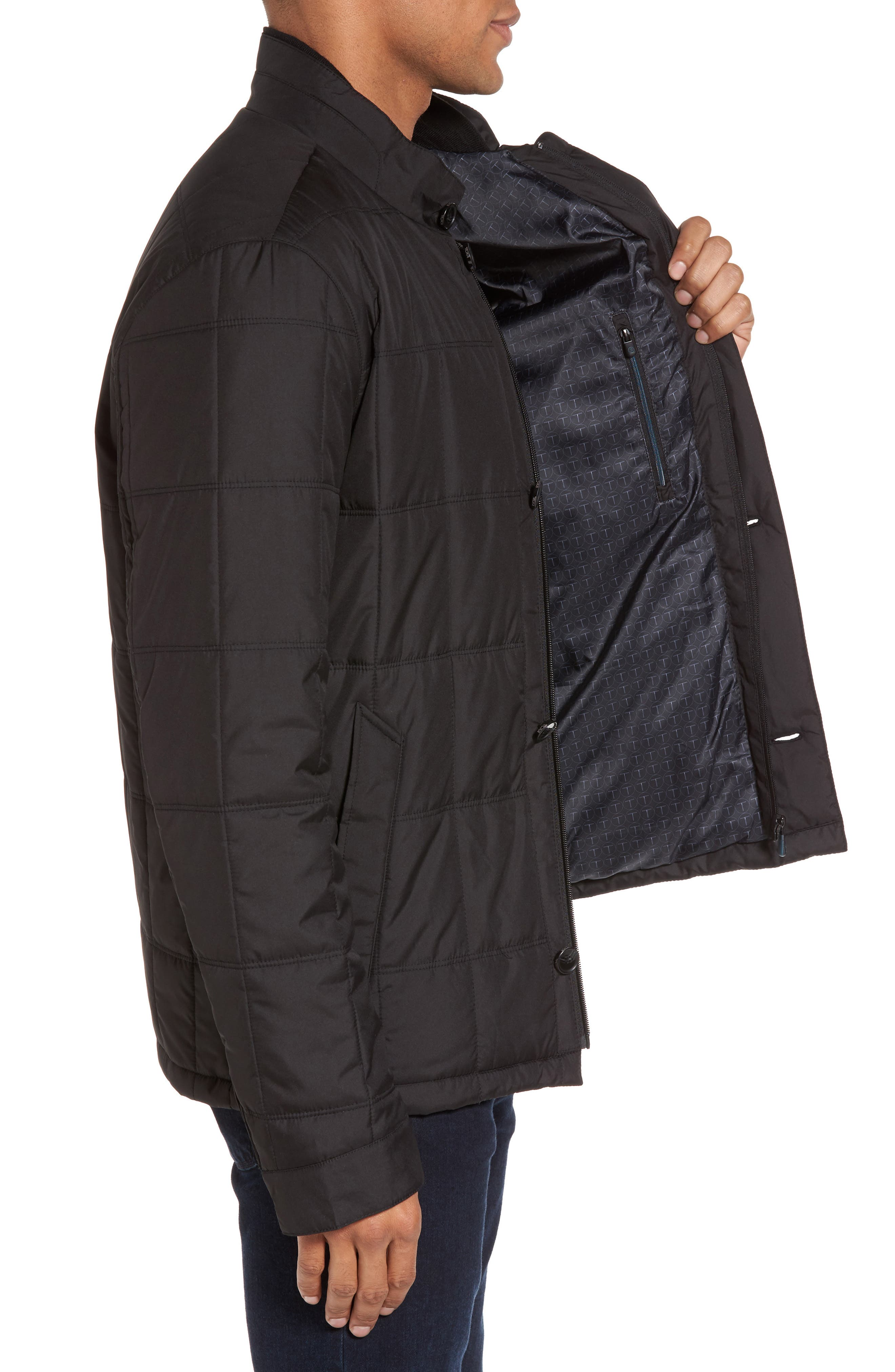Regular Fit Quilted Jacket,                             Alternate thumbnail 3, color,                             001