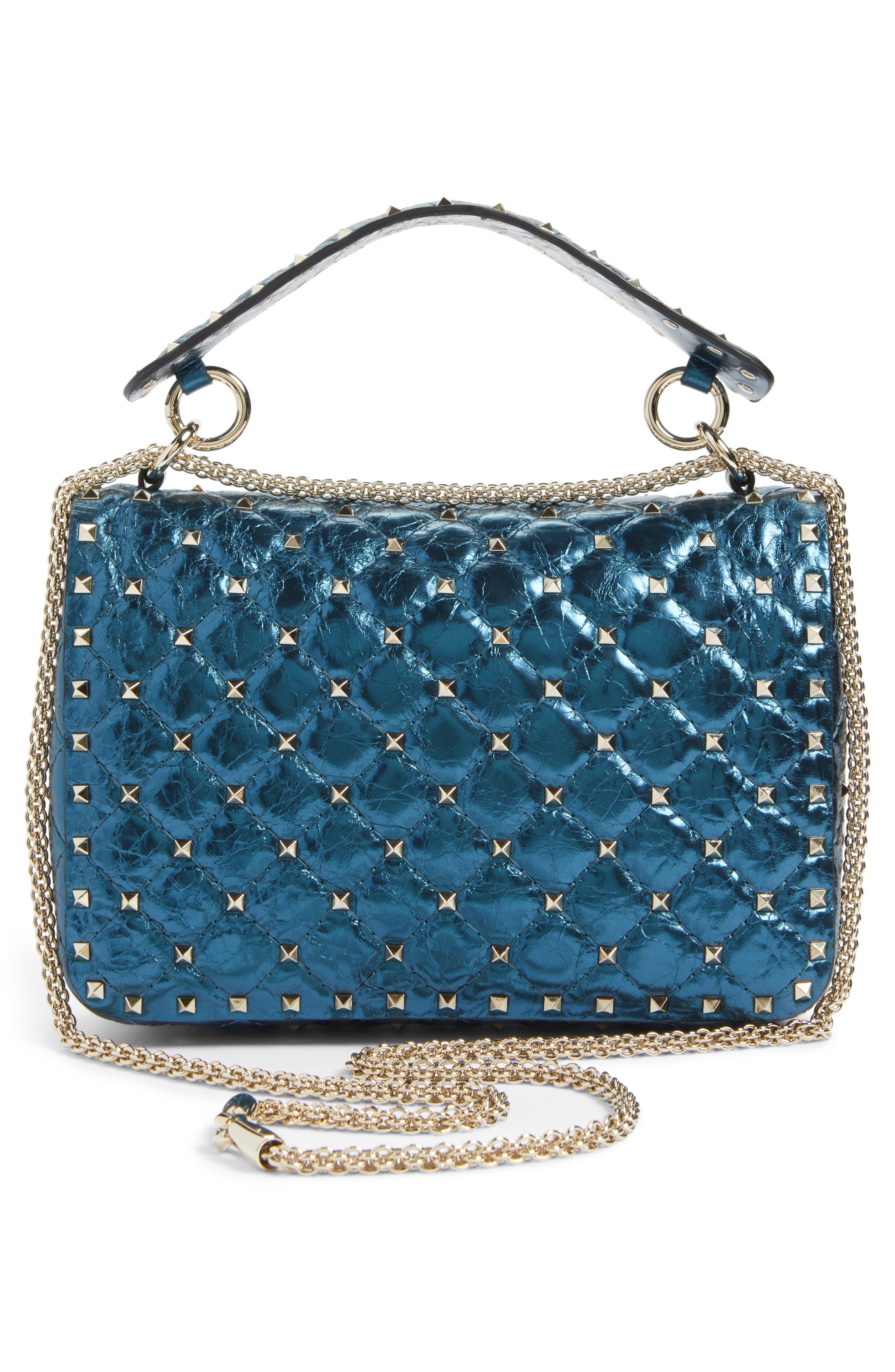 Medium Rockstud Spike Lambskin Shoulder Bag,                             Alternate thumbnail 3, color,