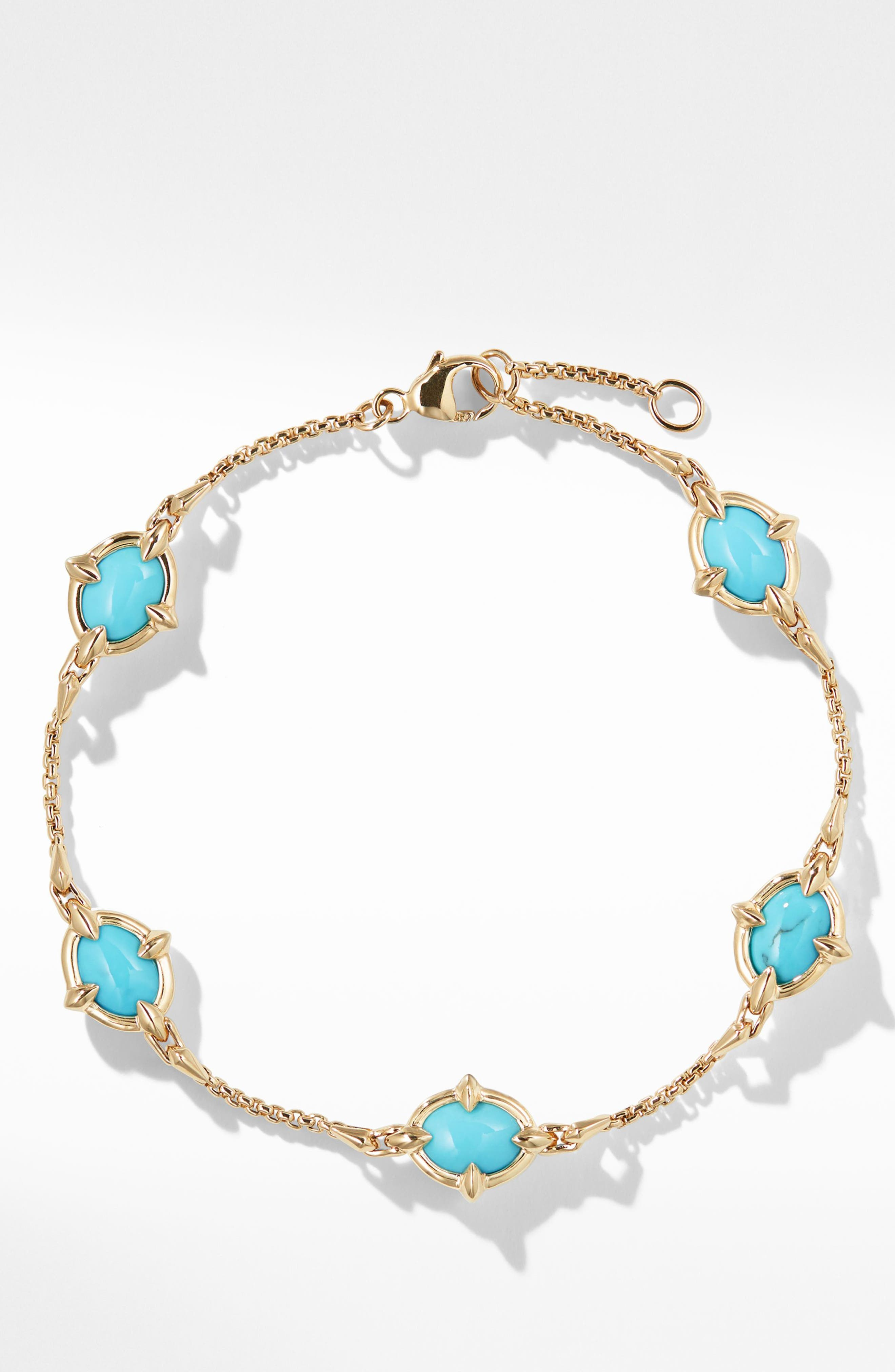 Chatelaine<sup>®</sup> Chain Bracelet in 18K Gold with Turquoise,                             Alternate thumbnail 2, color,                             440